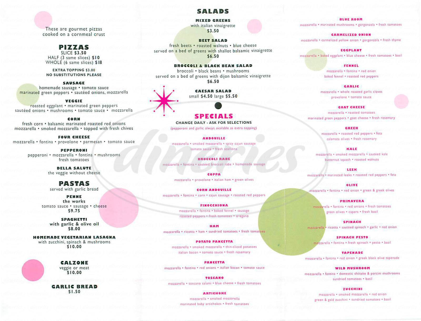 menu for Zelo Pizzeria
