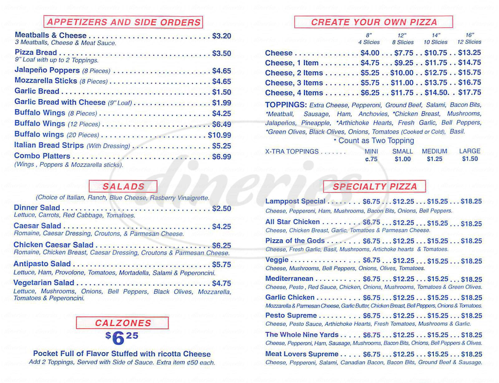 menu for Lamppost Pizza