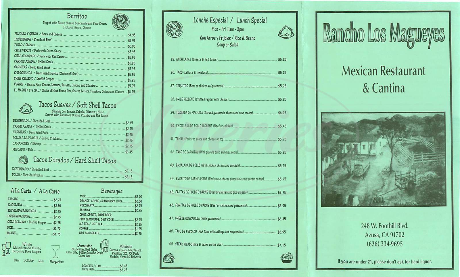 menu for Rancho Los Magueyes