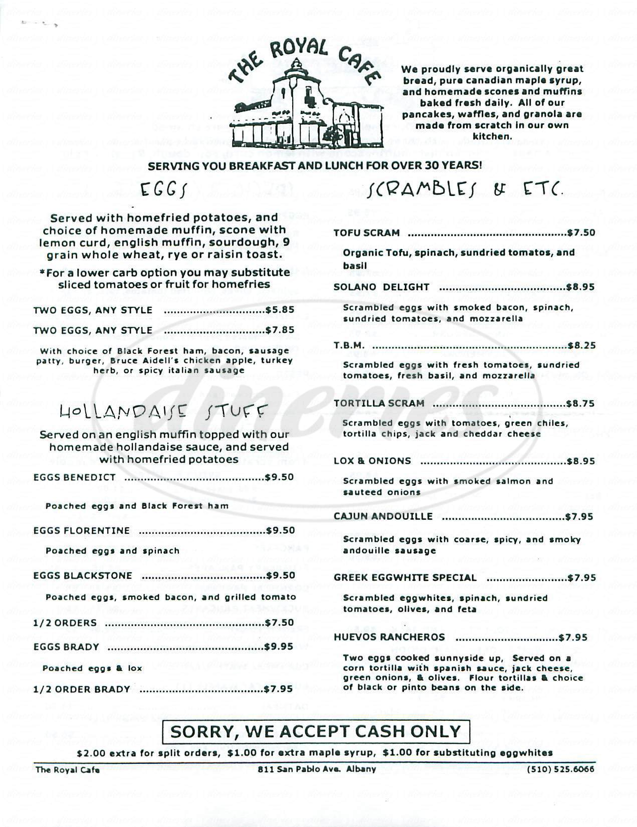 menu for Royal Café & Bakery