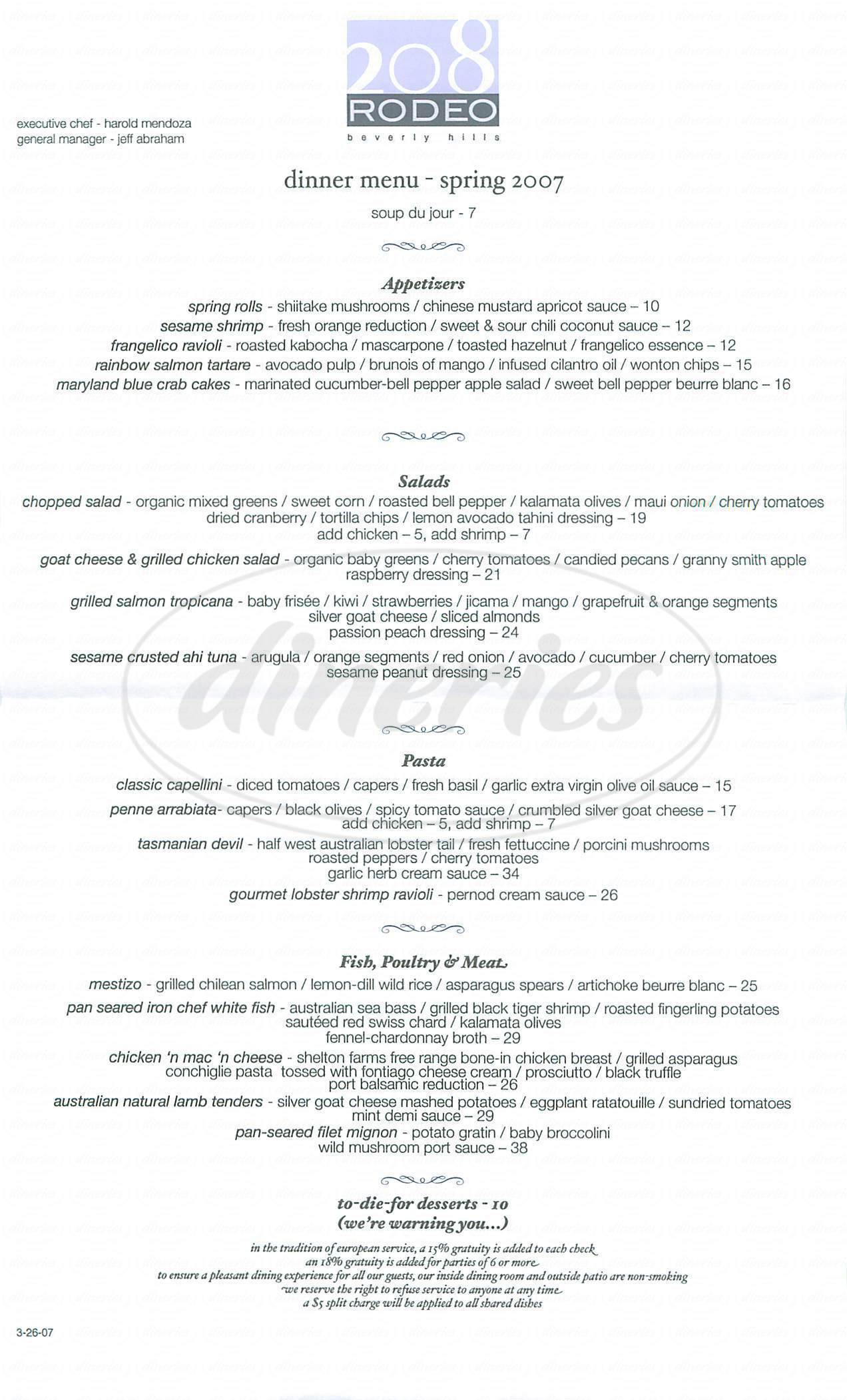 menu for 208 Rodeo