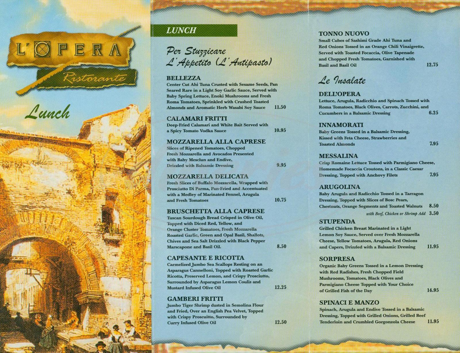 menu for L'Opera