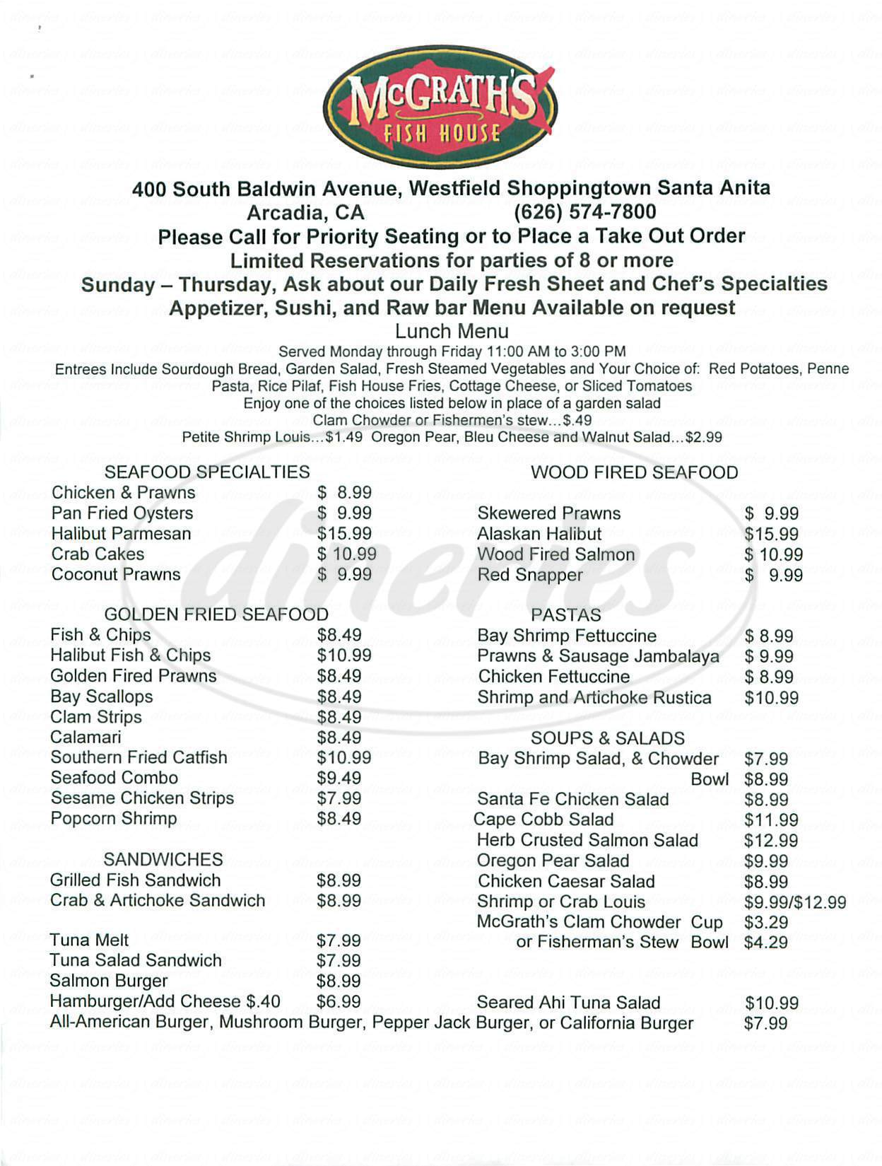 menu for McGrath's Fish House