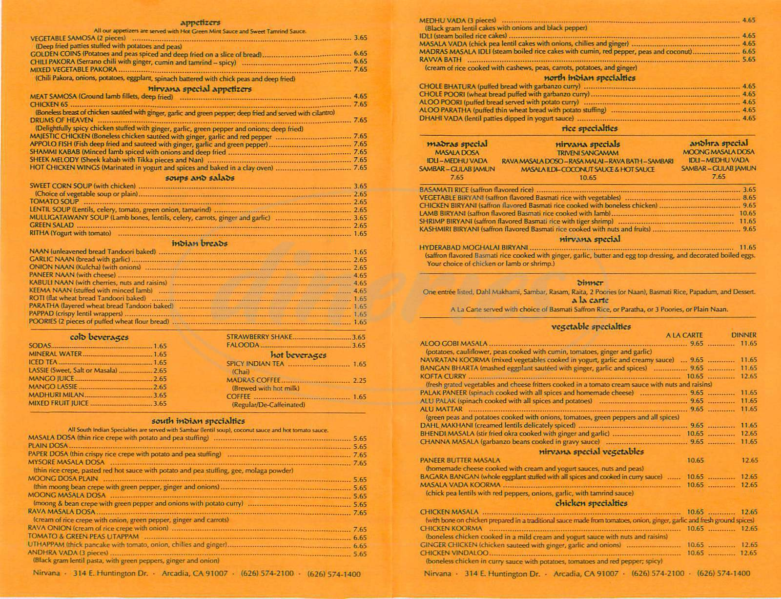 menu for Nirvana