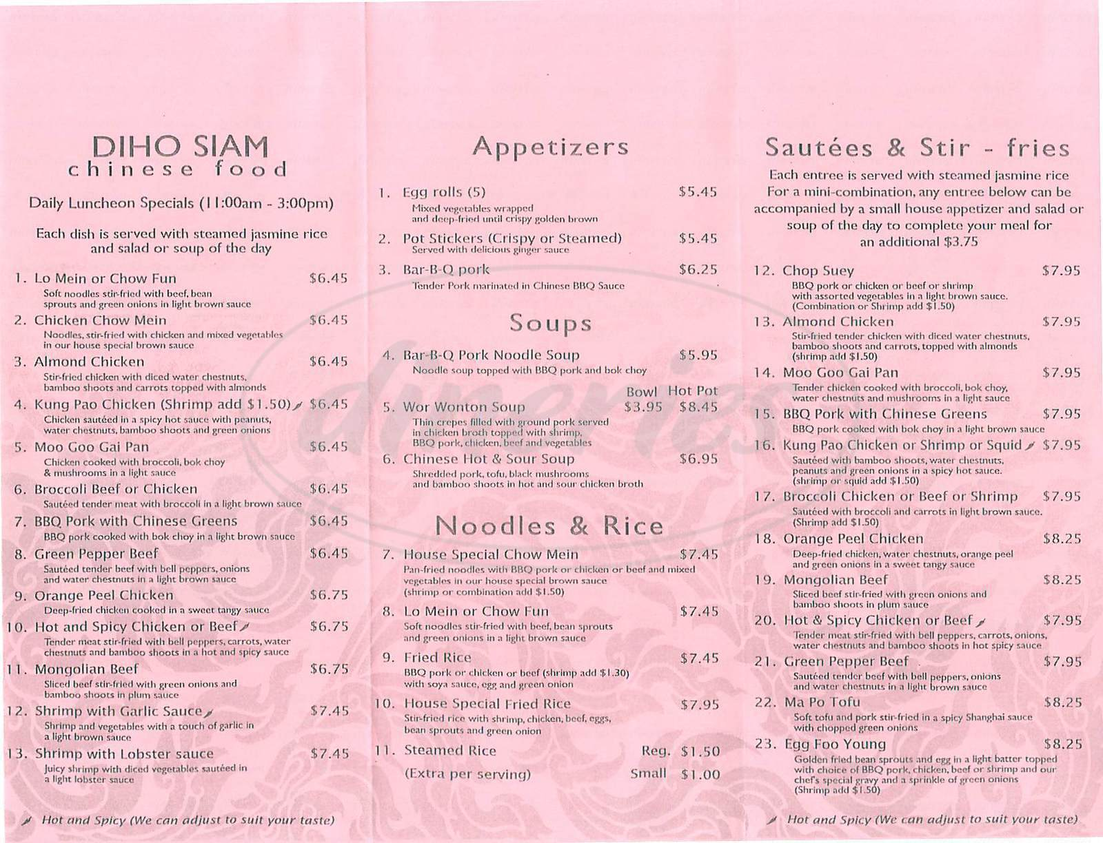 menu for Diho Siam