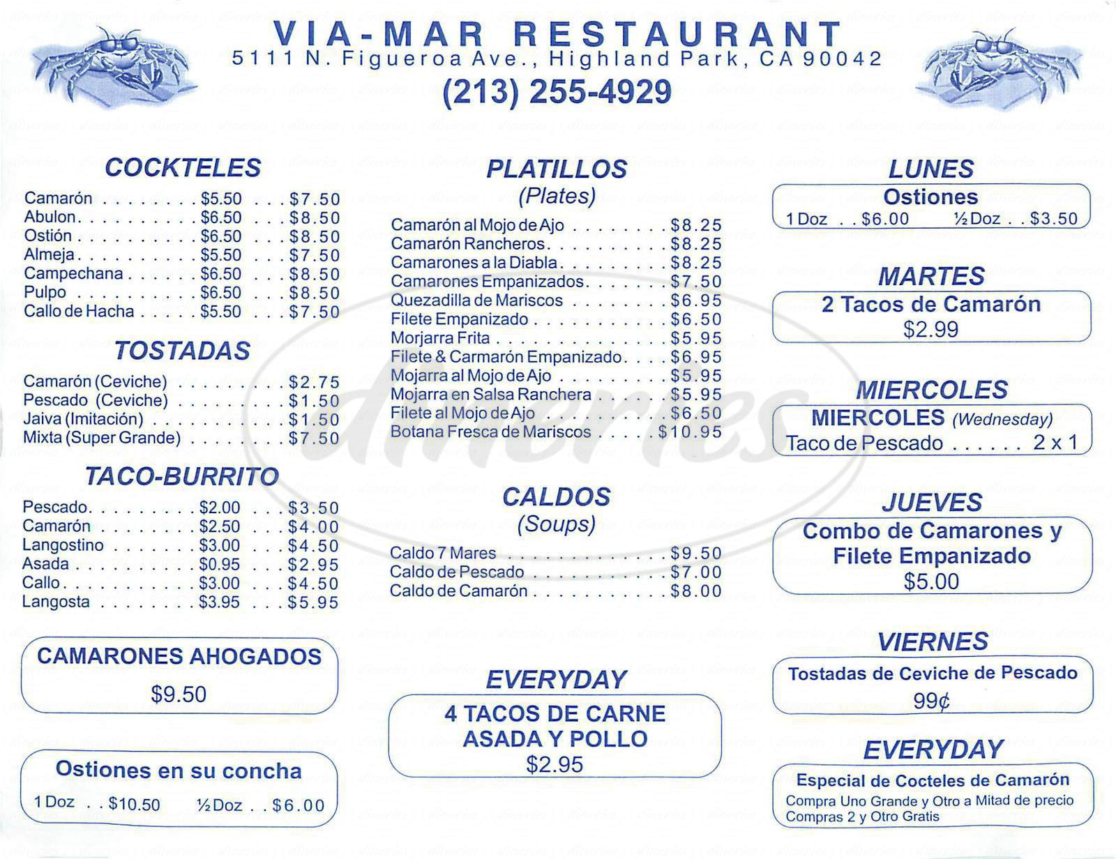 menu for Via Mar Seafood Restaurant