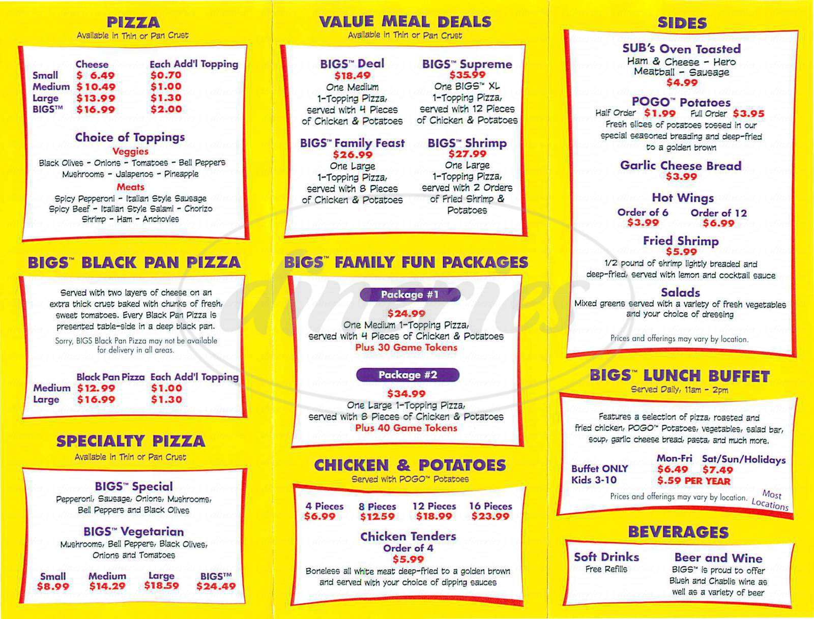 menu for Bigs Pizza & More