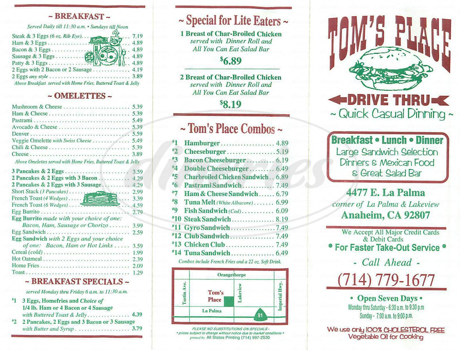 menu for Tom's Place