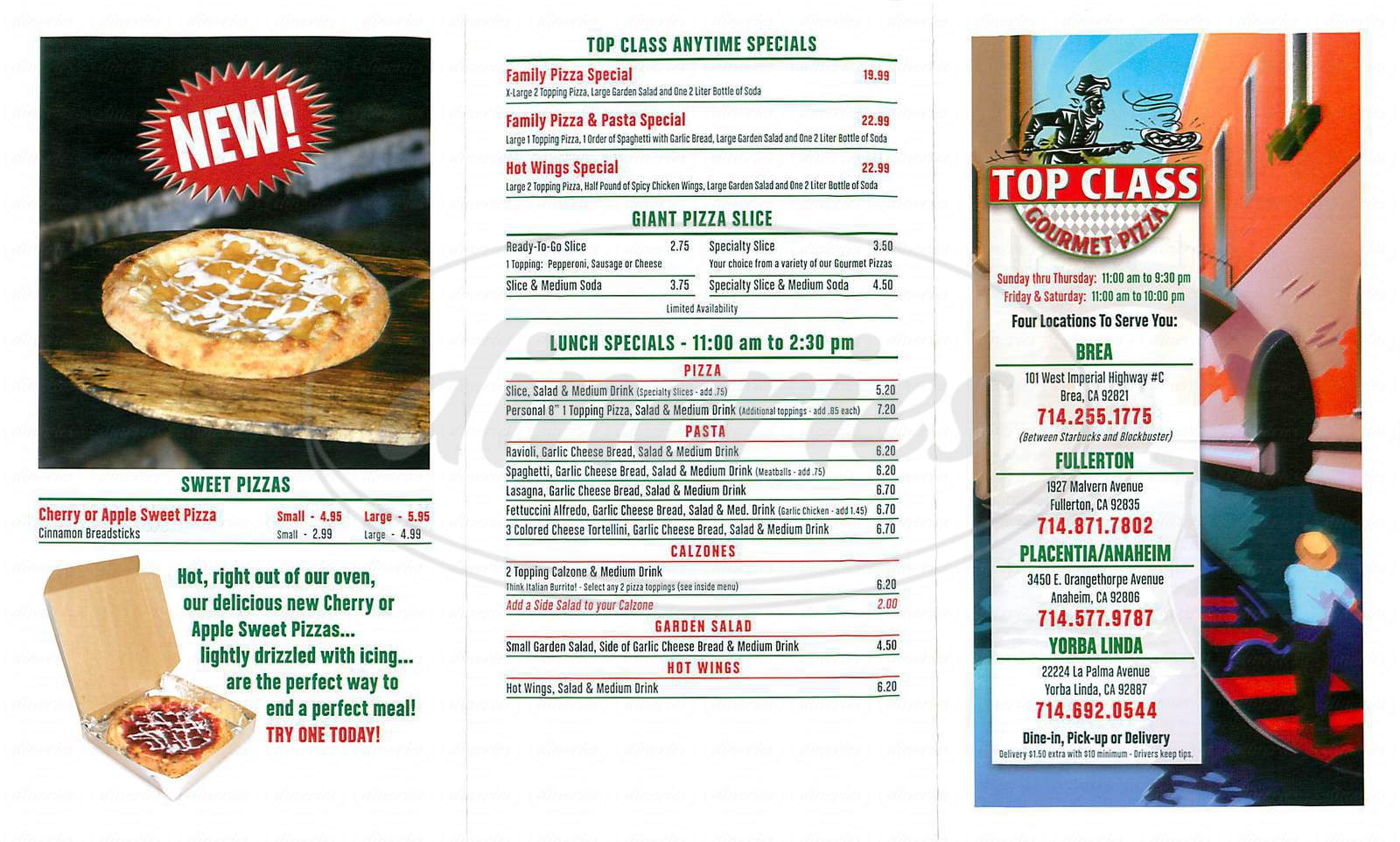 menu for Top Class Gourmet Pizza