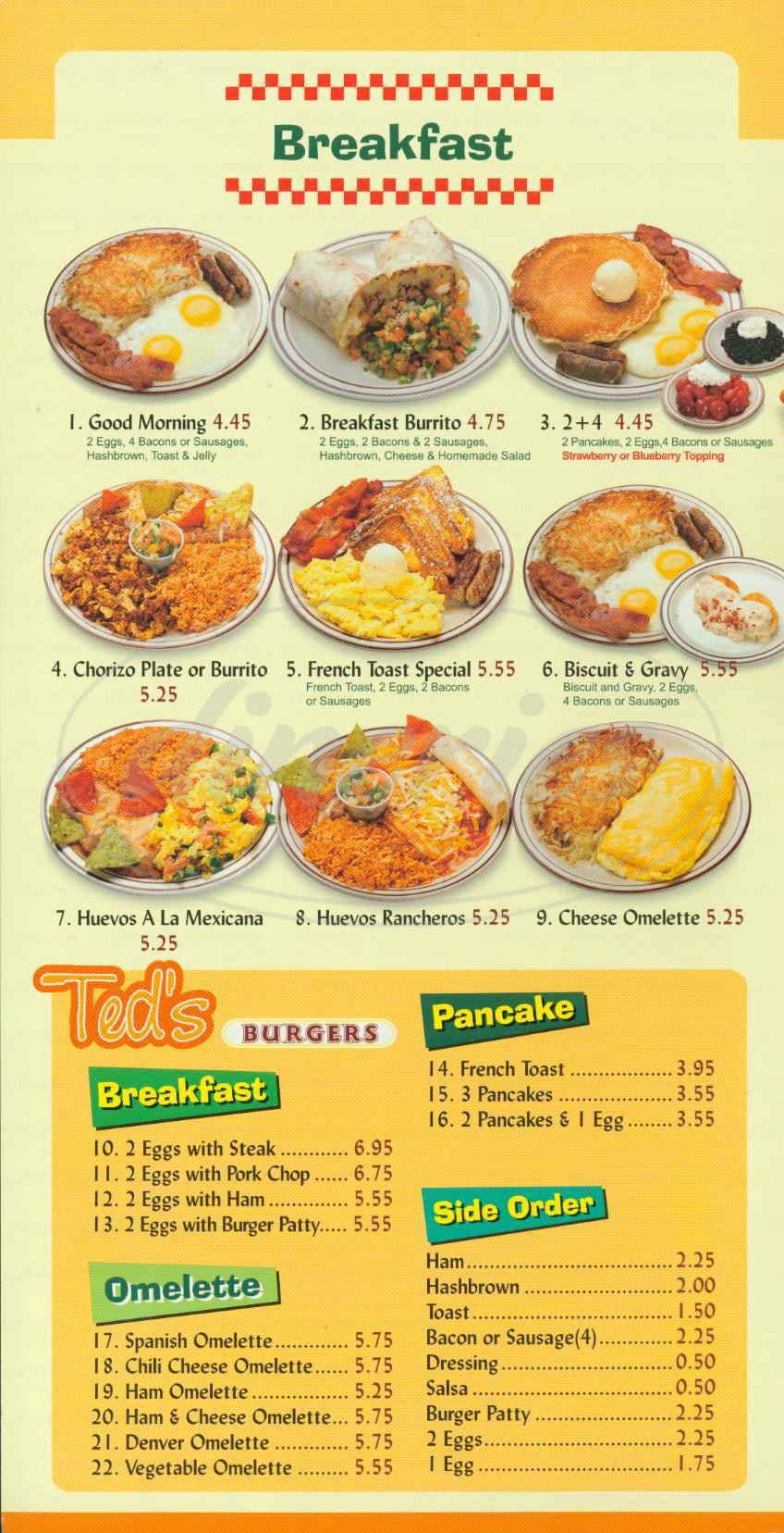 menu for Teds Burgers