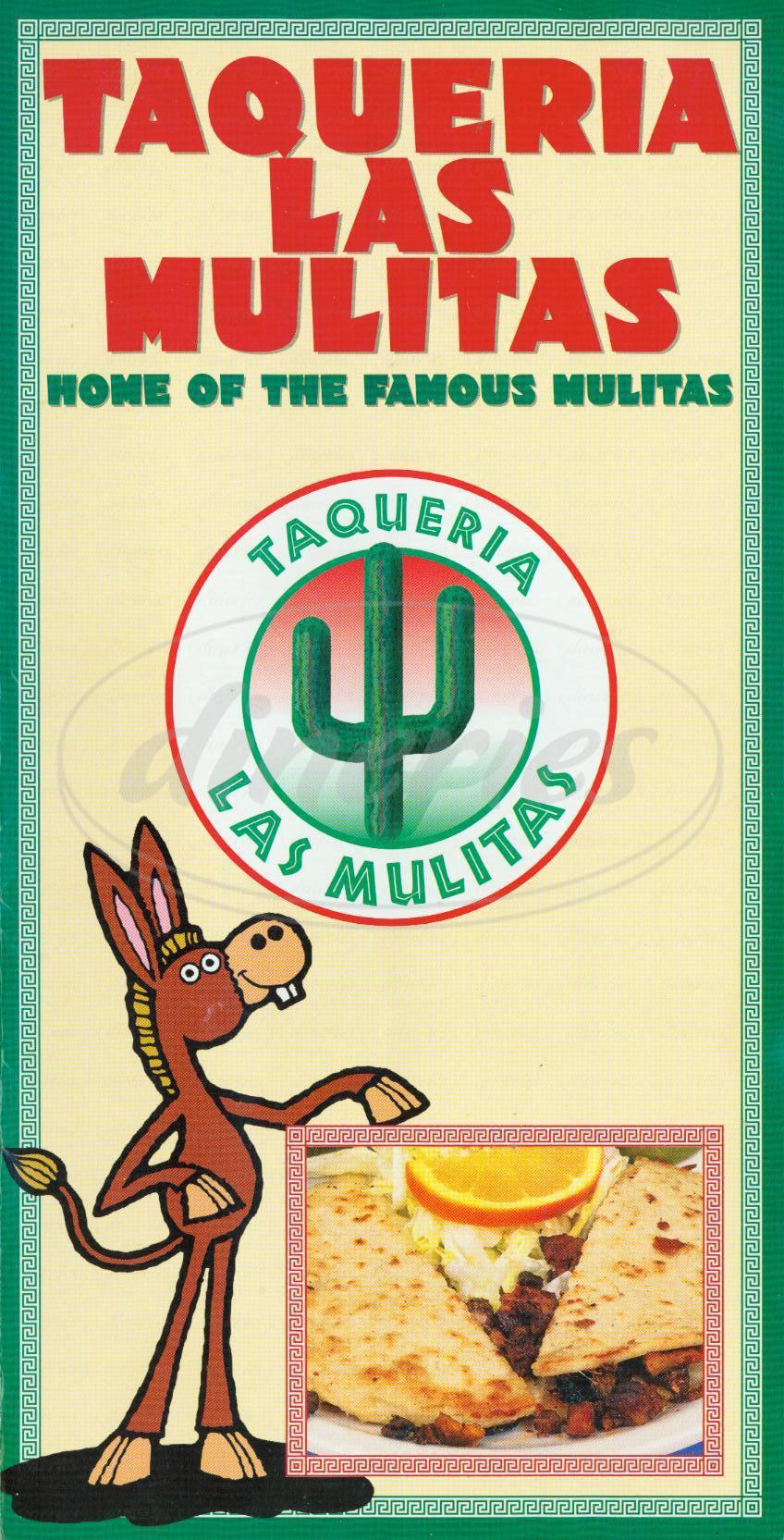 menu for Taqueria Las Mulitas