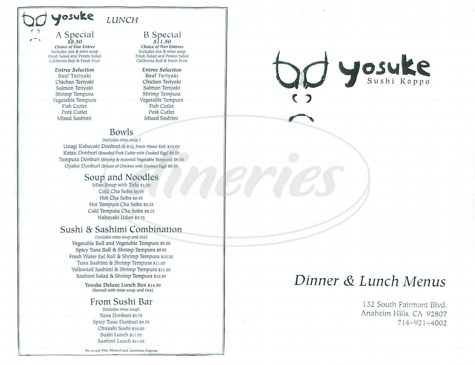 menu for Yosuke Sushi Kappo