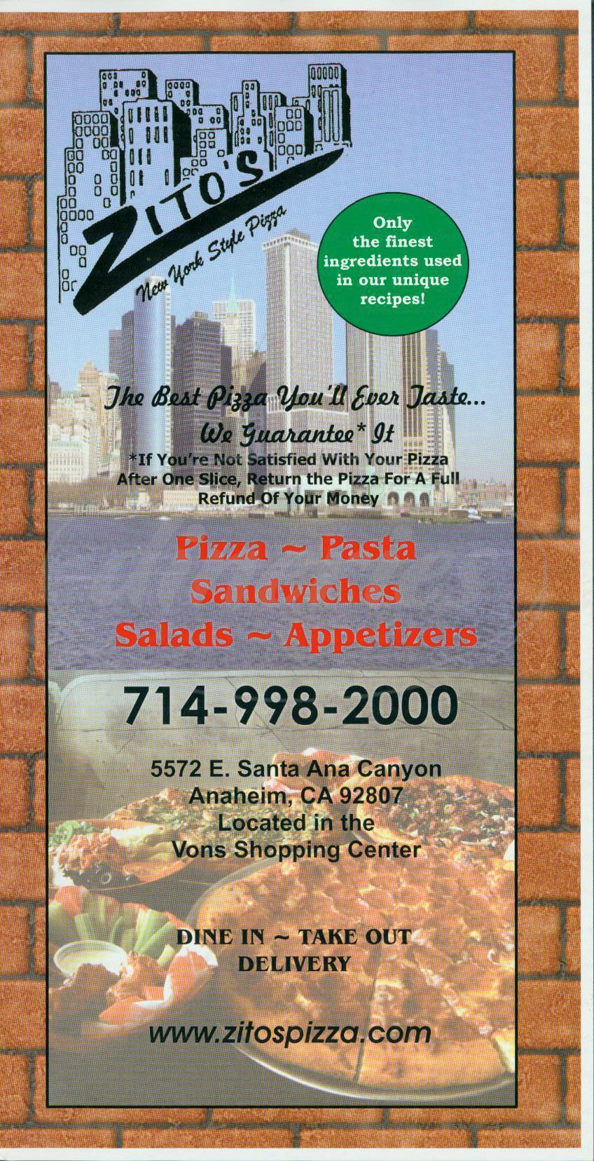 menu for Zitos New York Style Pizza
