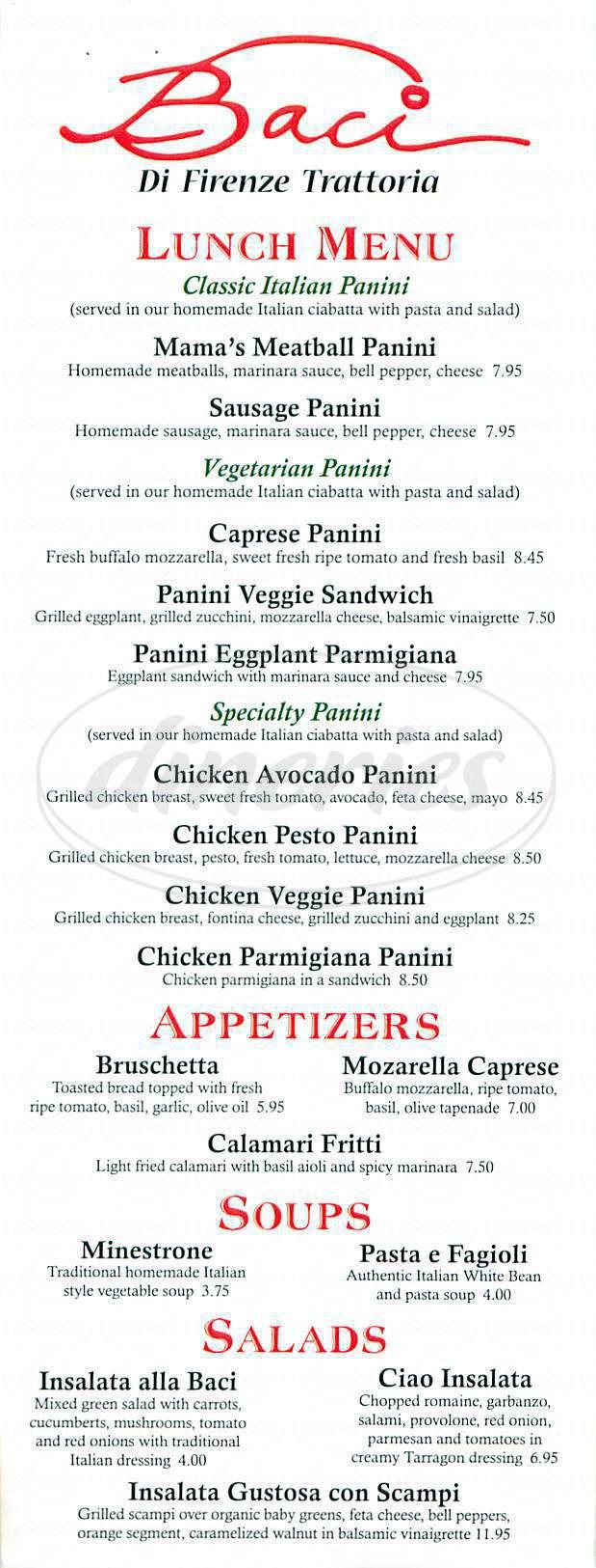 menu for Baci Di Firenze Trattoria