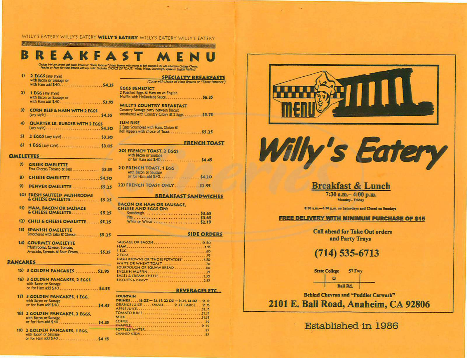 menu for Willys Eatery