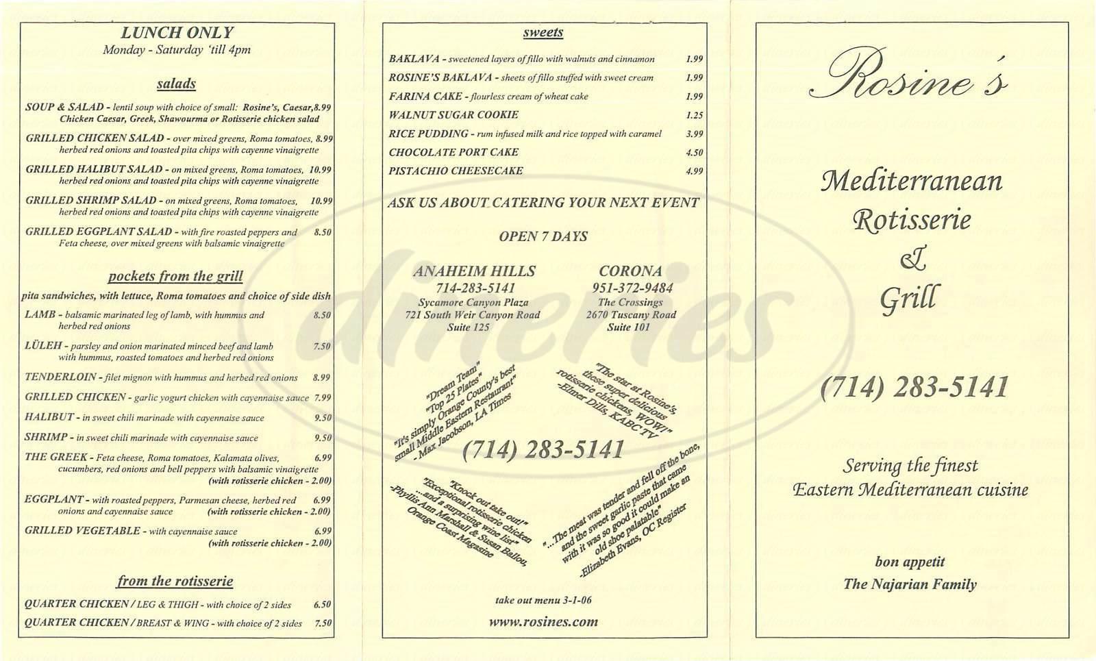 menu for Rosine's Mediterranean Rotisserie & Grill