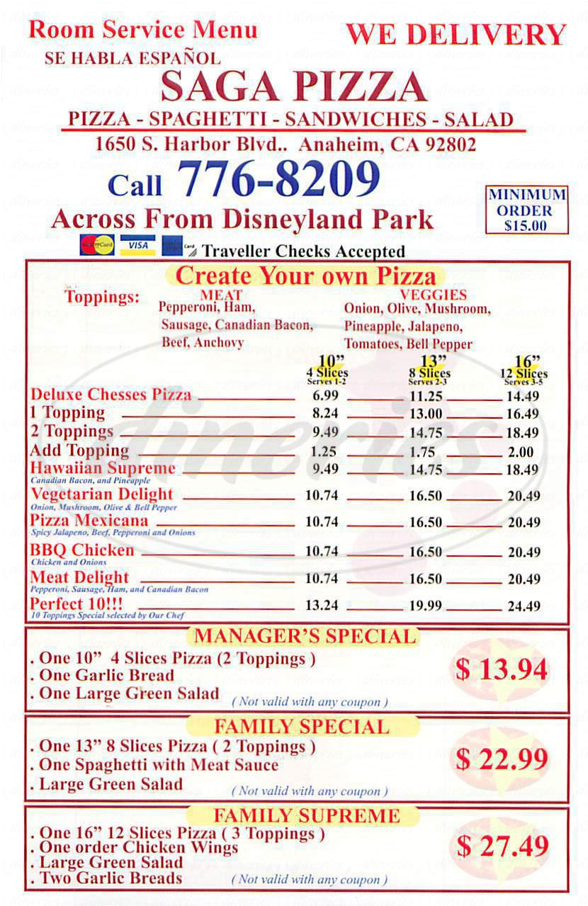 menu for Saga Pizza
