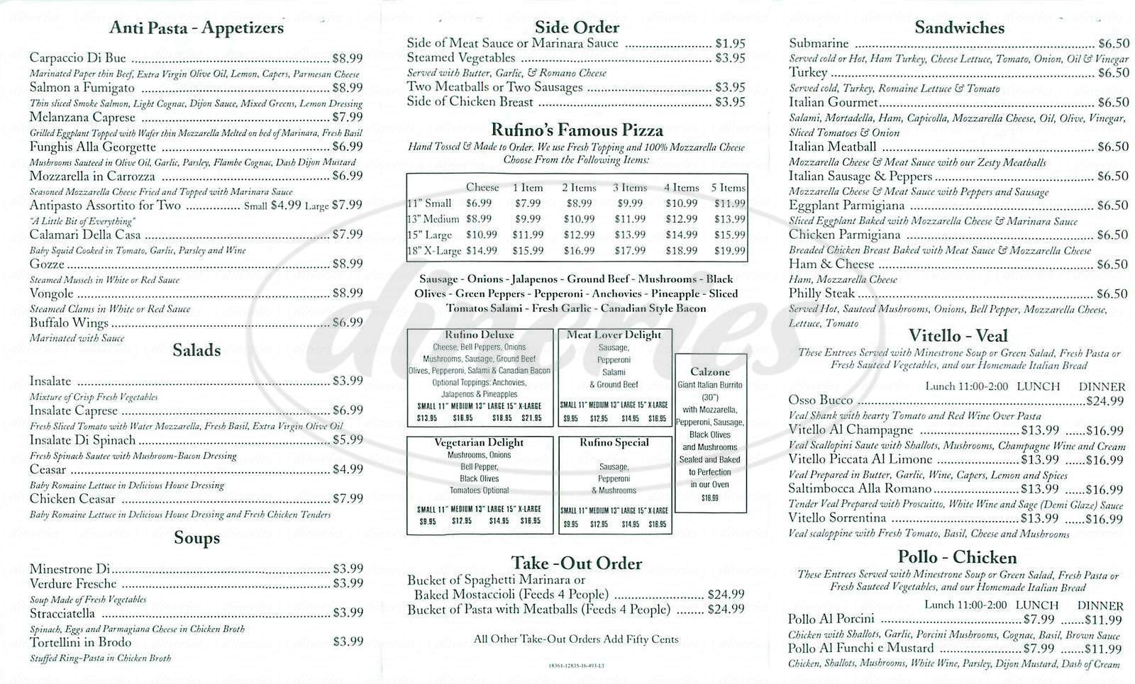menu for Rufinos Italian Restaurant