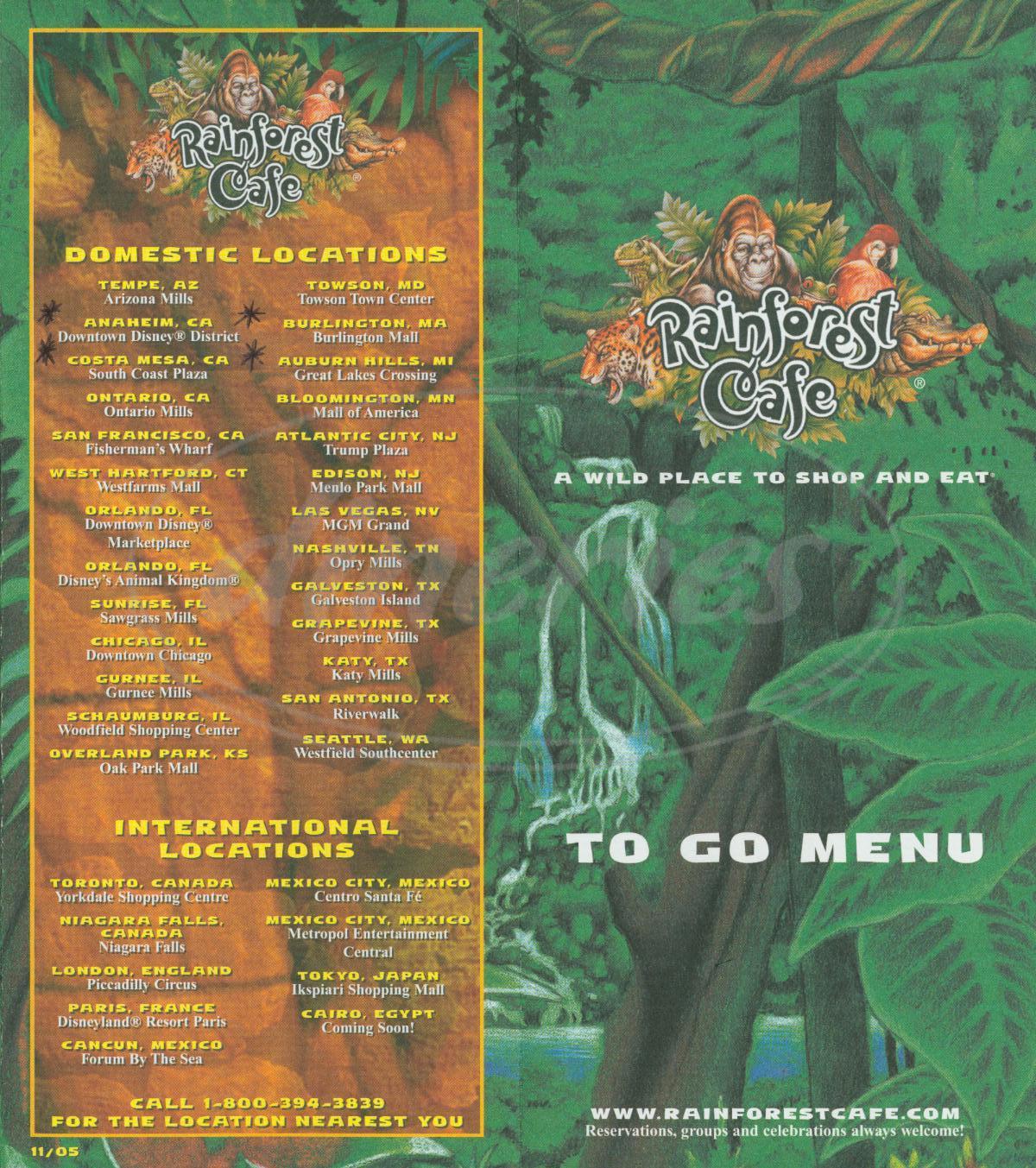 menu for Rainforest Café