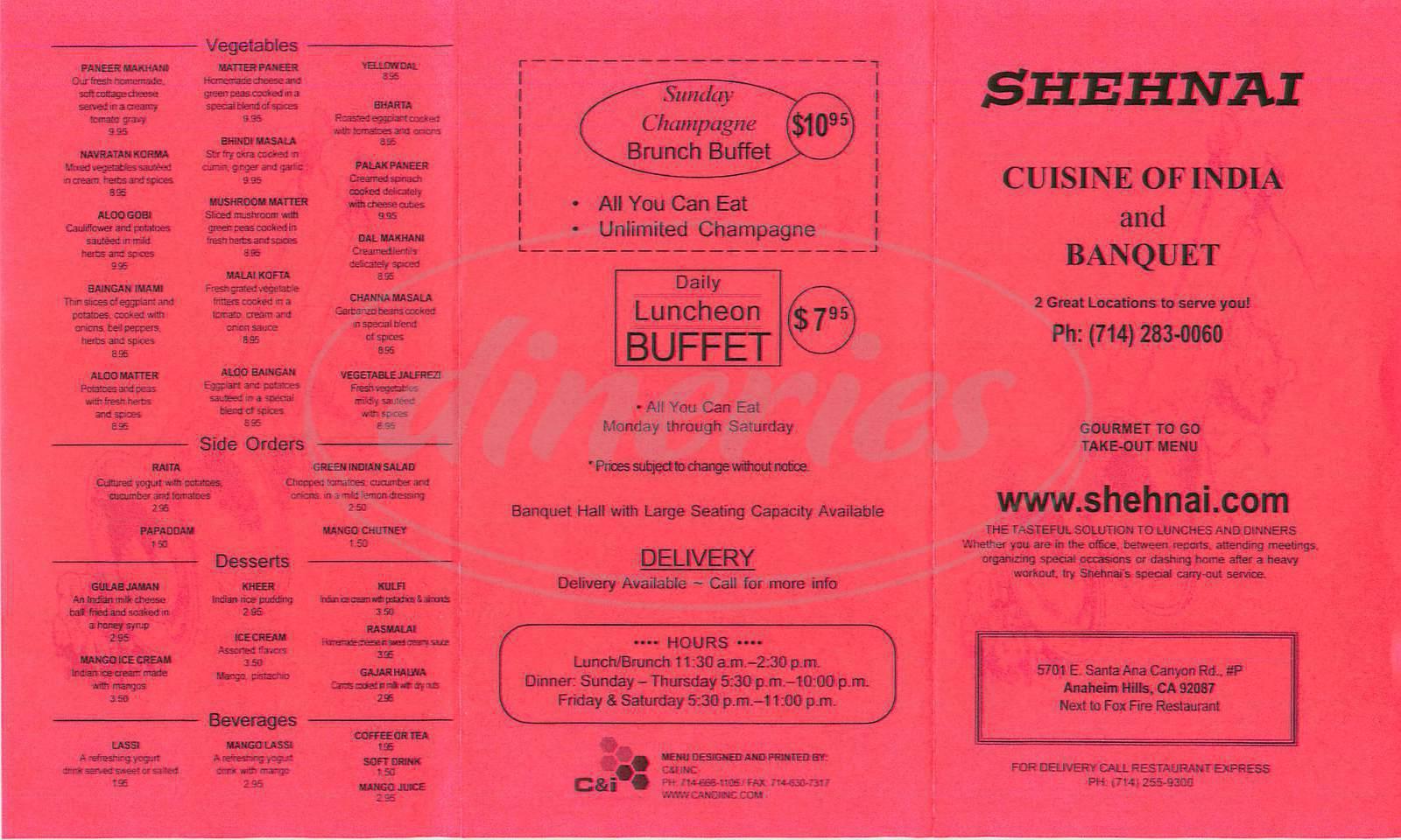 menu for Shehnai Cuisine of India