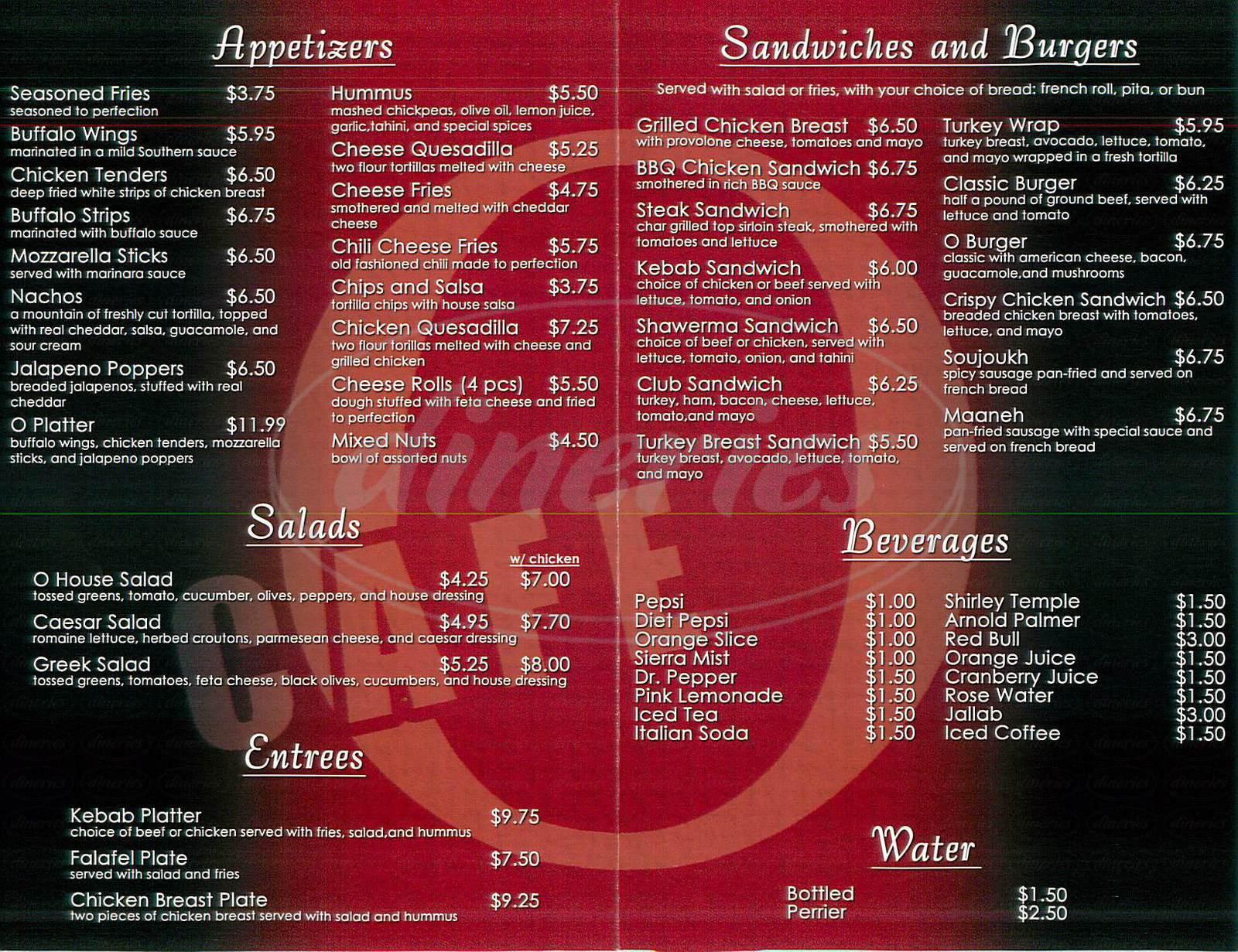 menu for O Café
