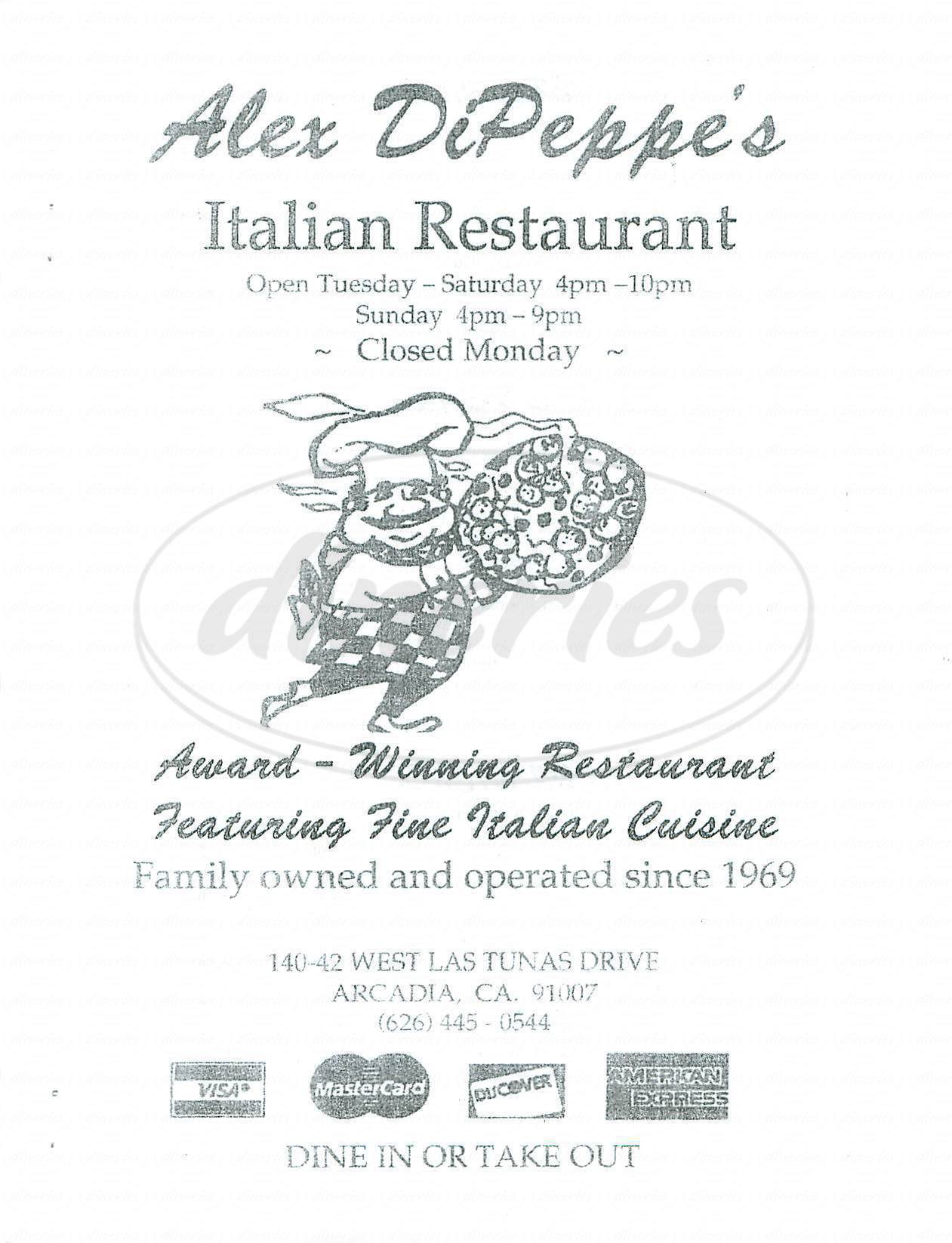 menu for Alex DiPeppe's Italian Restaurant