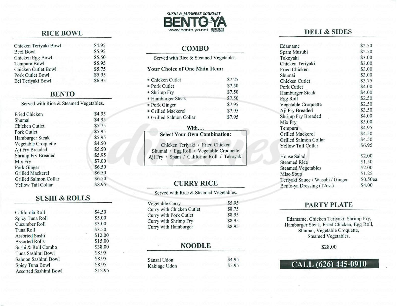 menu for Bento-Ya