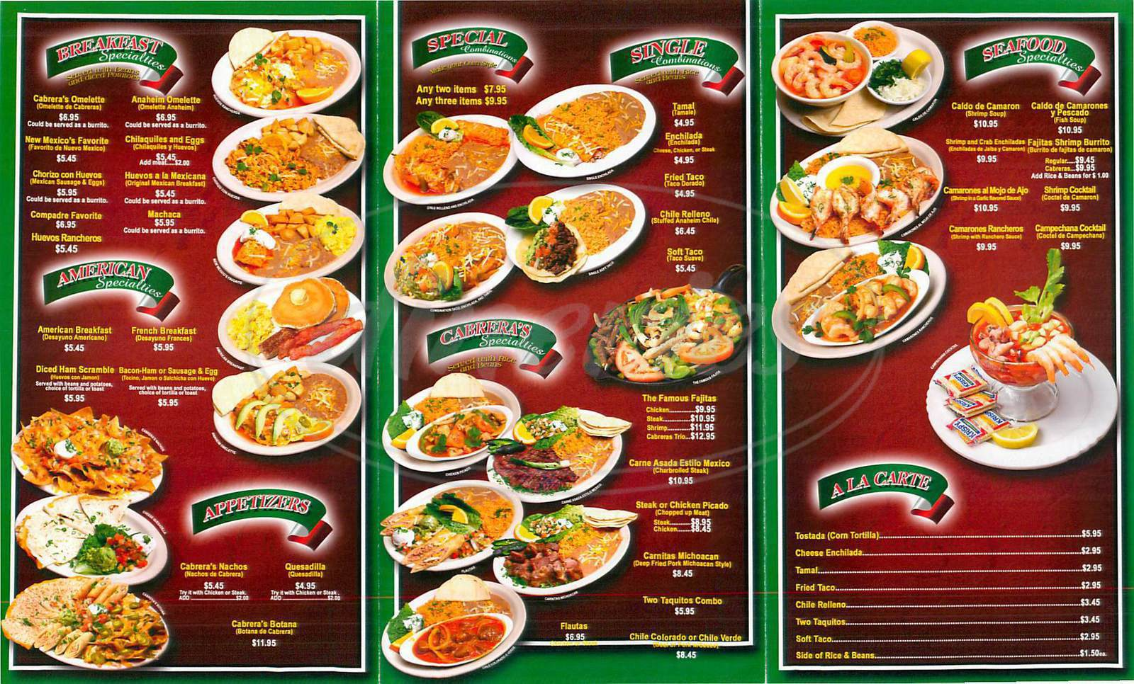 menu for Cabrera'a Mexican Cuisine