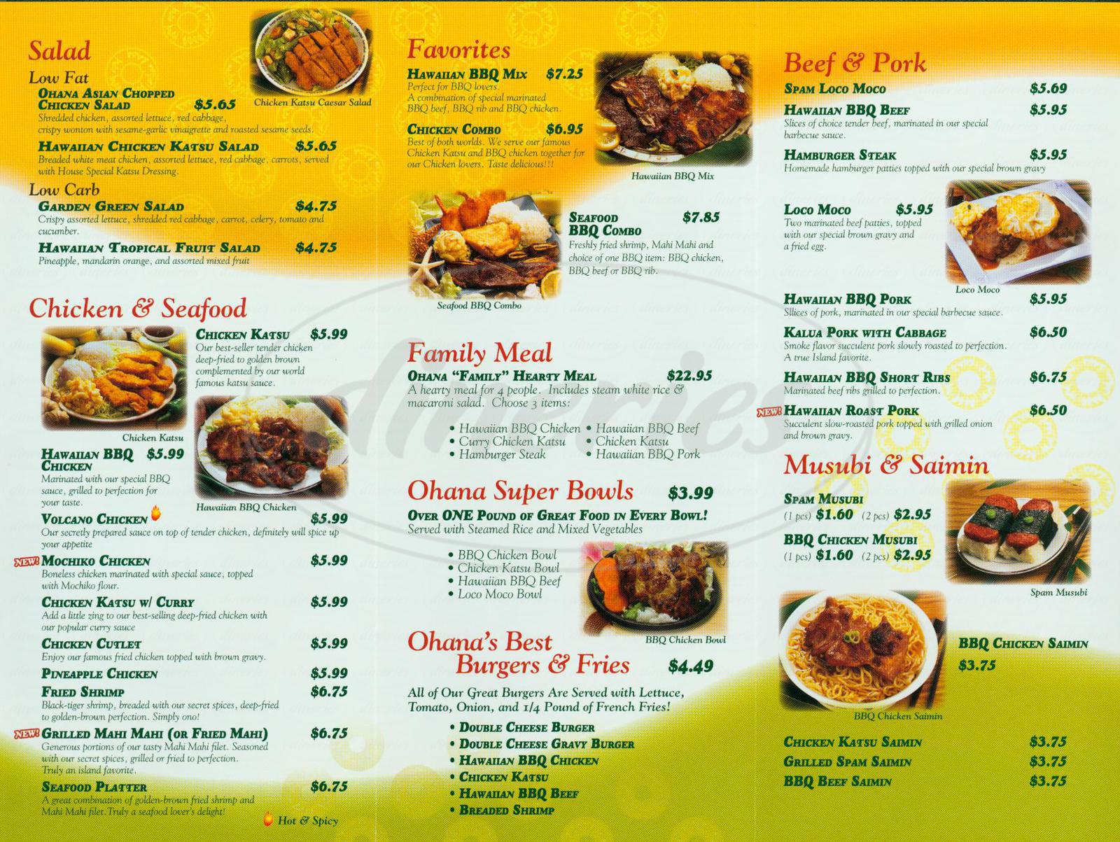 menu for Ohana Hawaiian BBQ