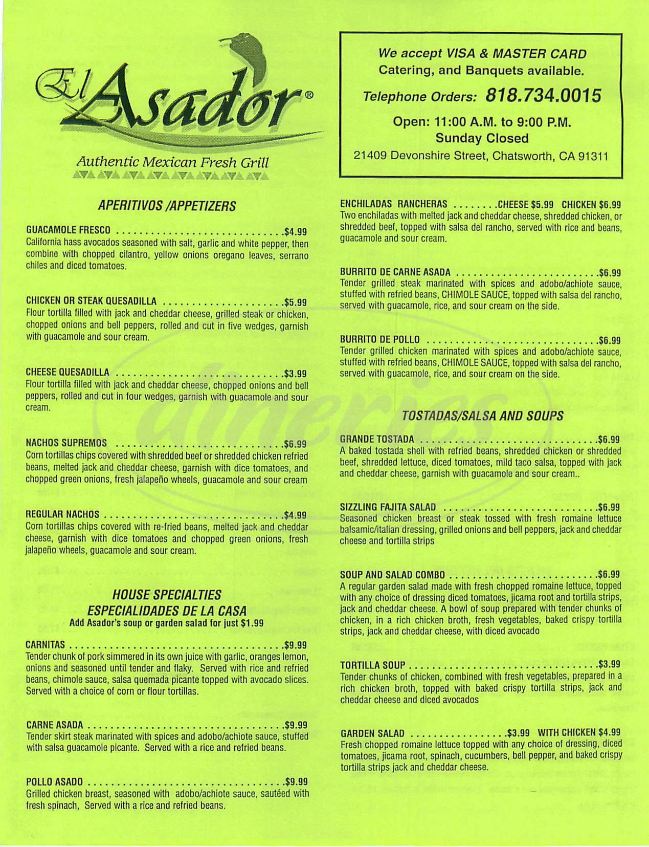 menu for El Asador Mexican Grill