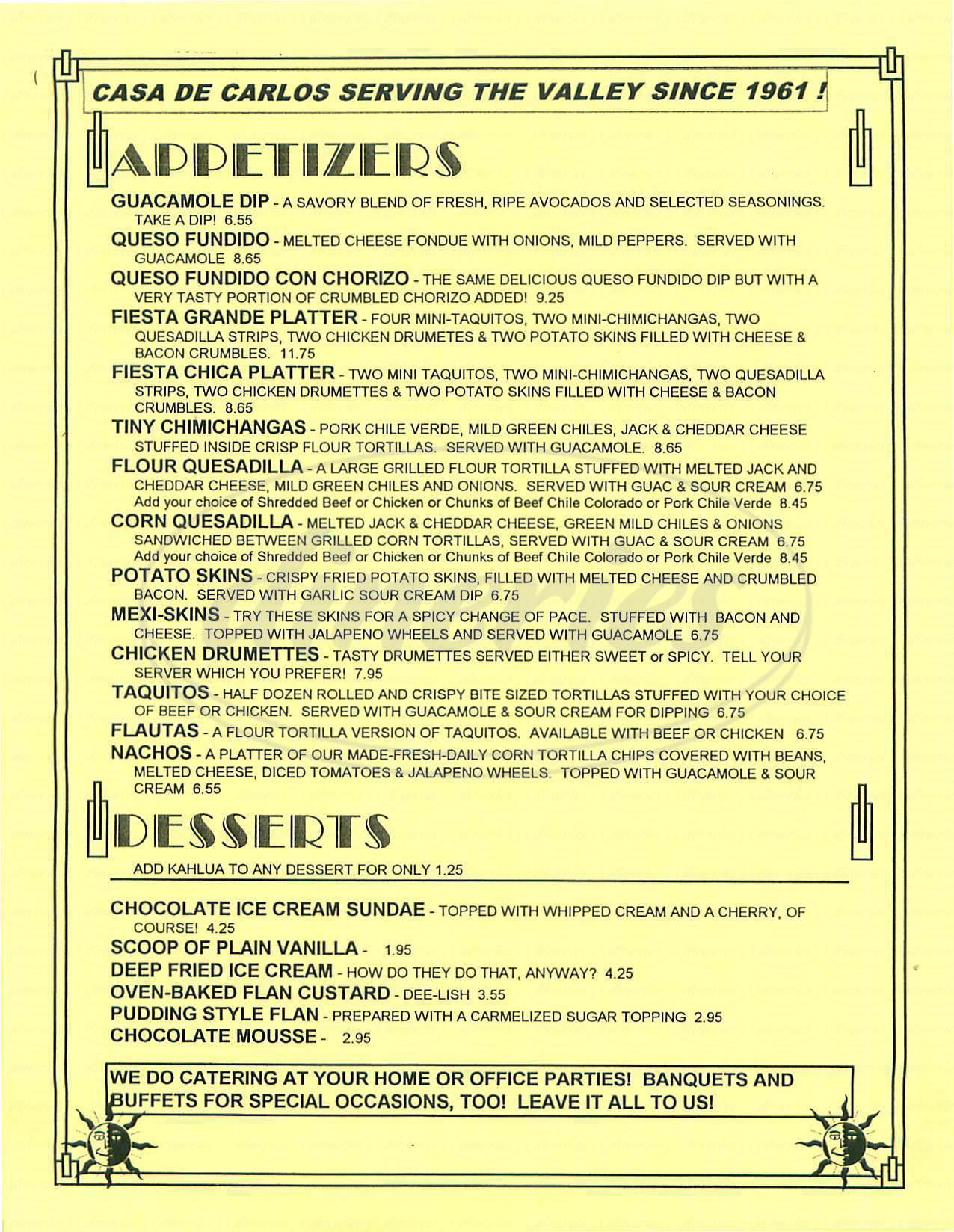 menu for Casa de Carlos