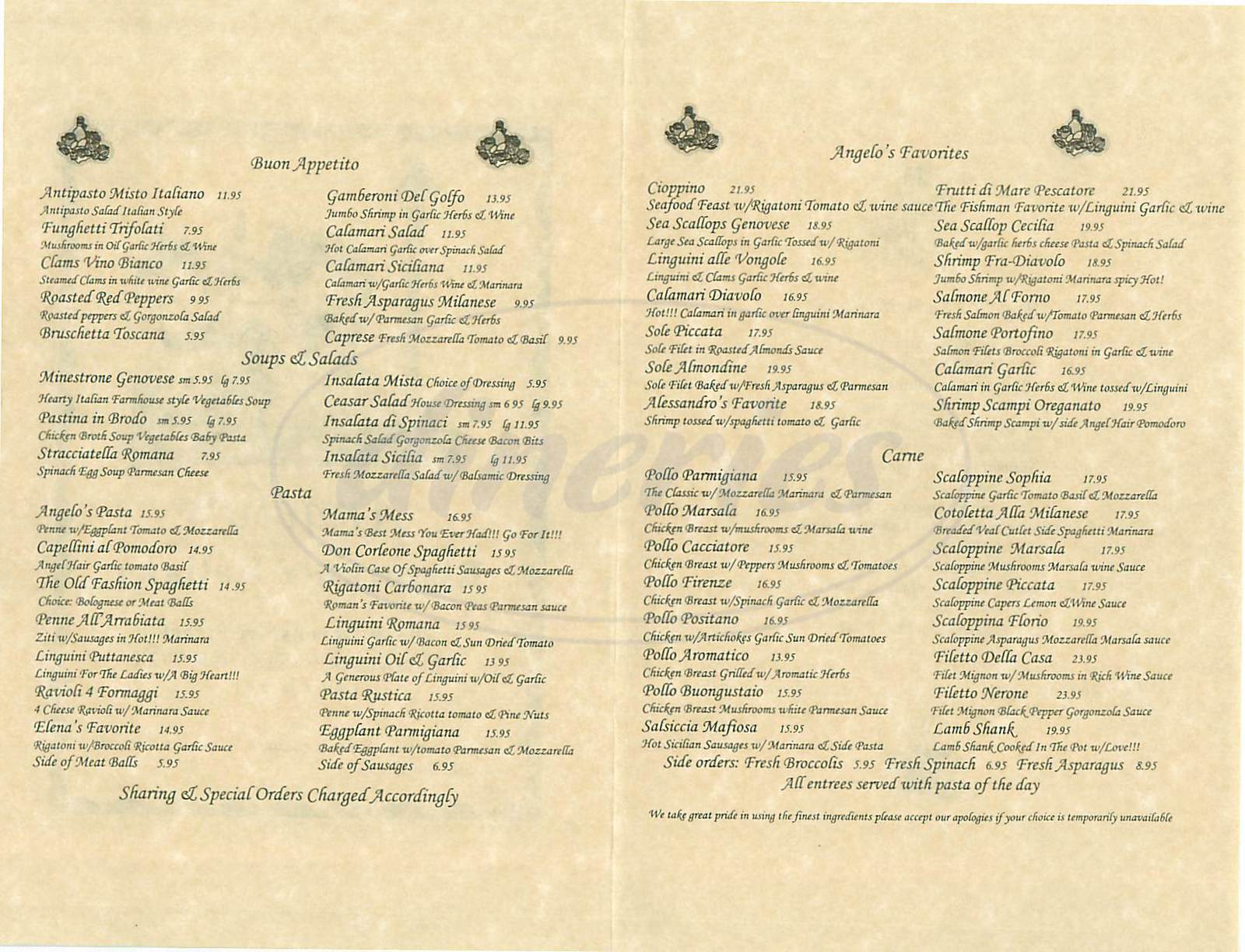 menu for Angelos Ristorante Italiano