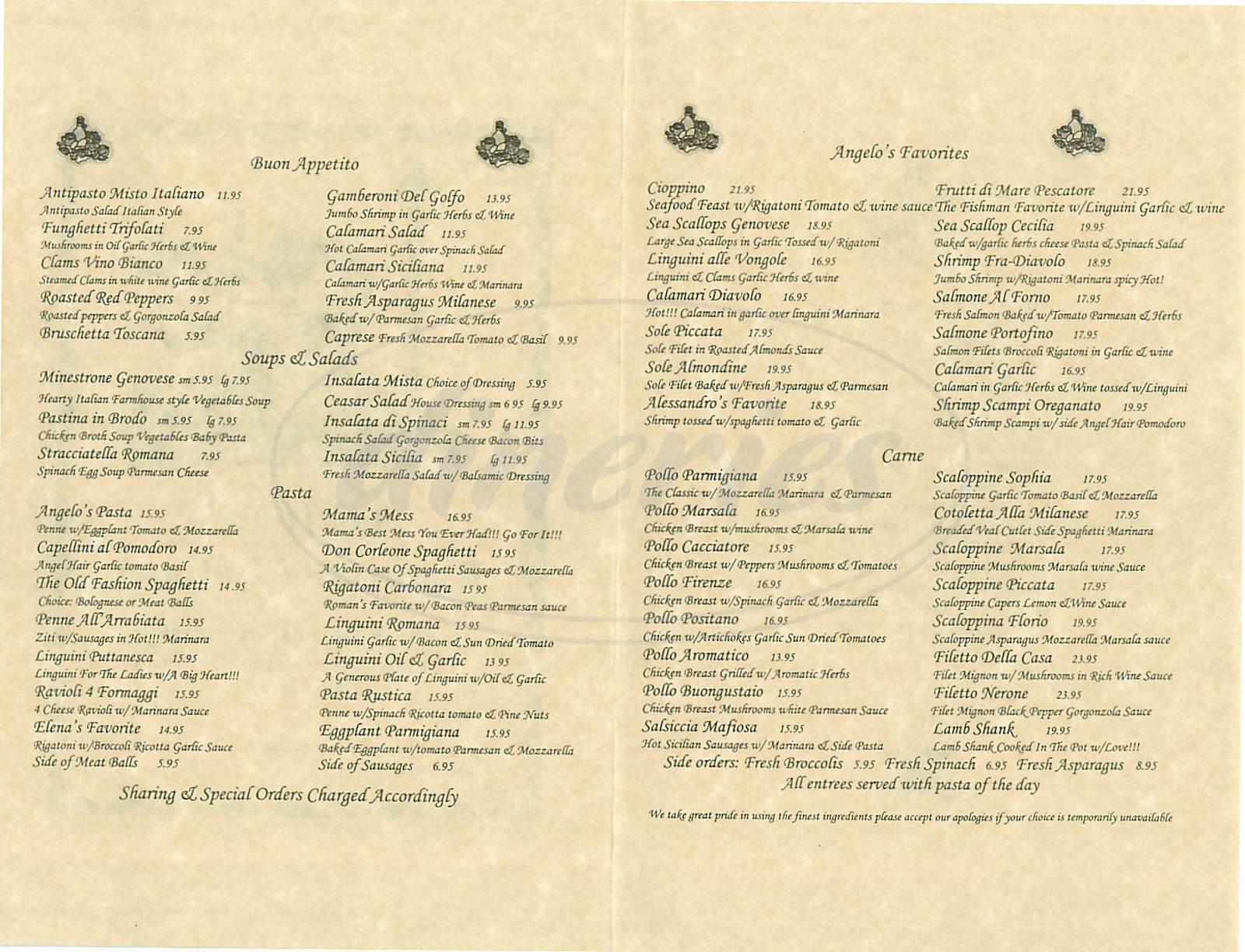 menu for Angelos Ristorante Italiano
