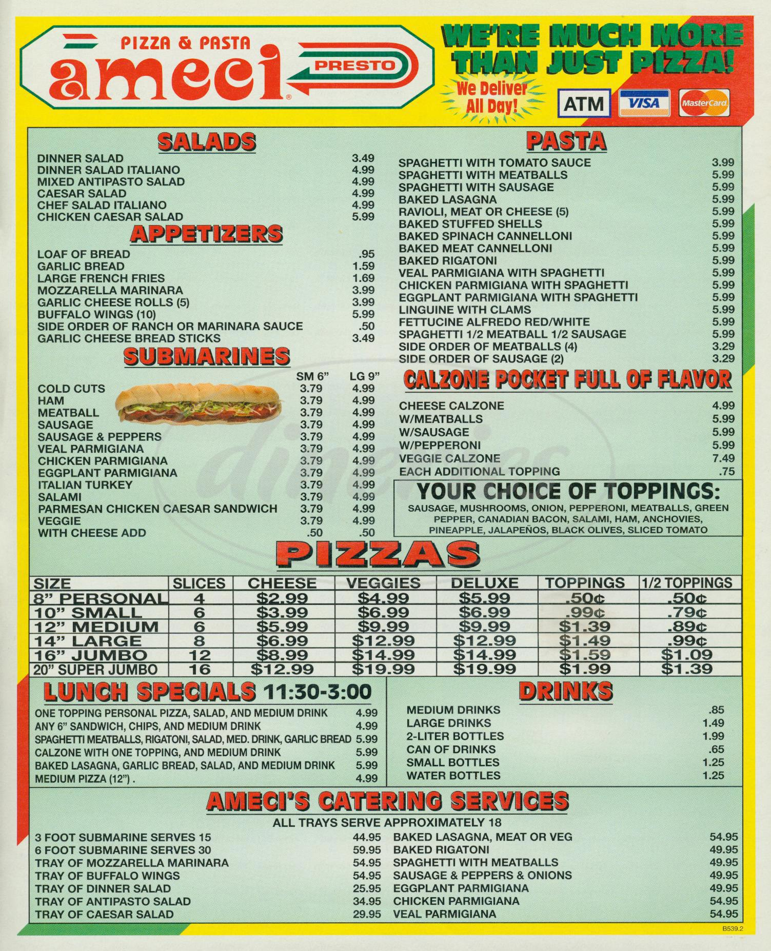 menu for Ameci Pizza