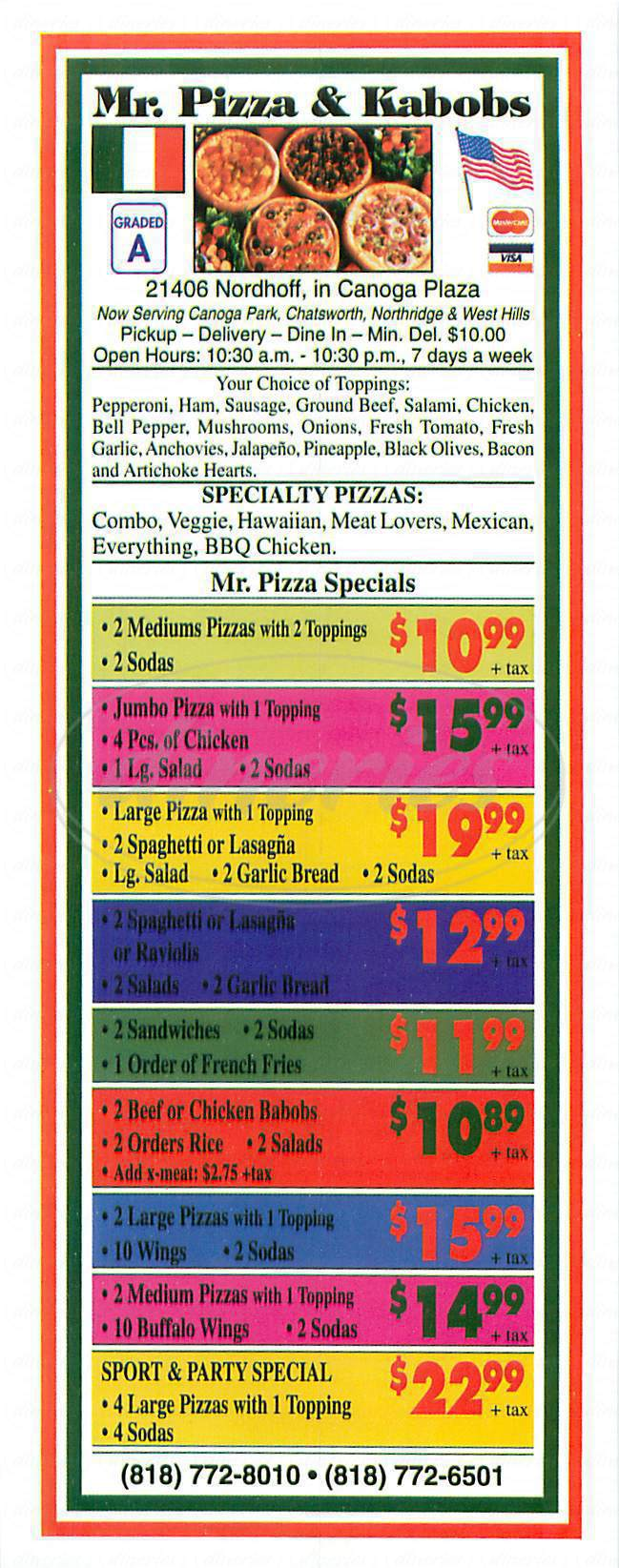 menu for Mr Pizza & Kabobs