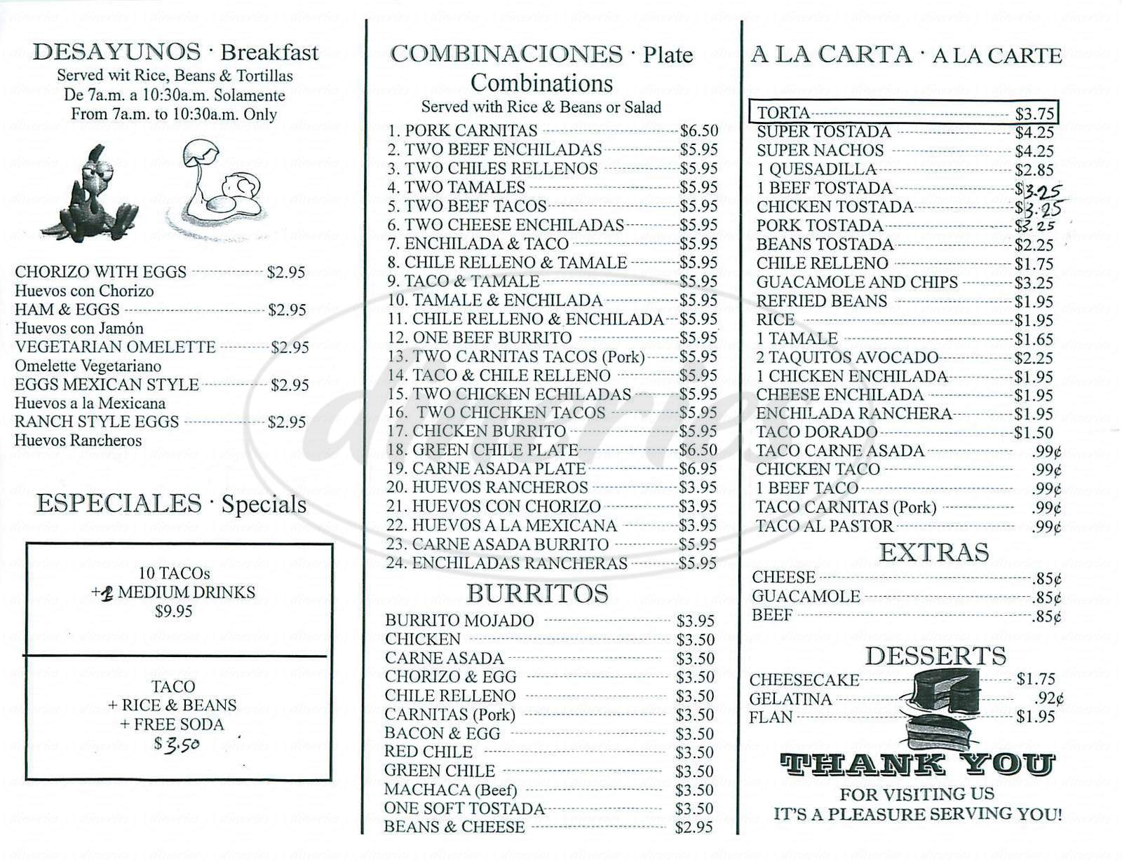 menu for El Taco Loco