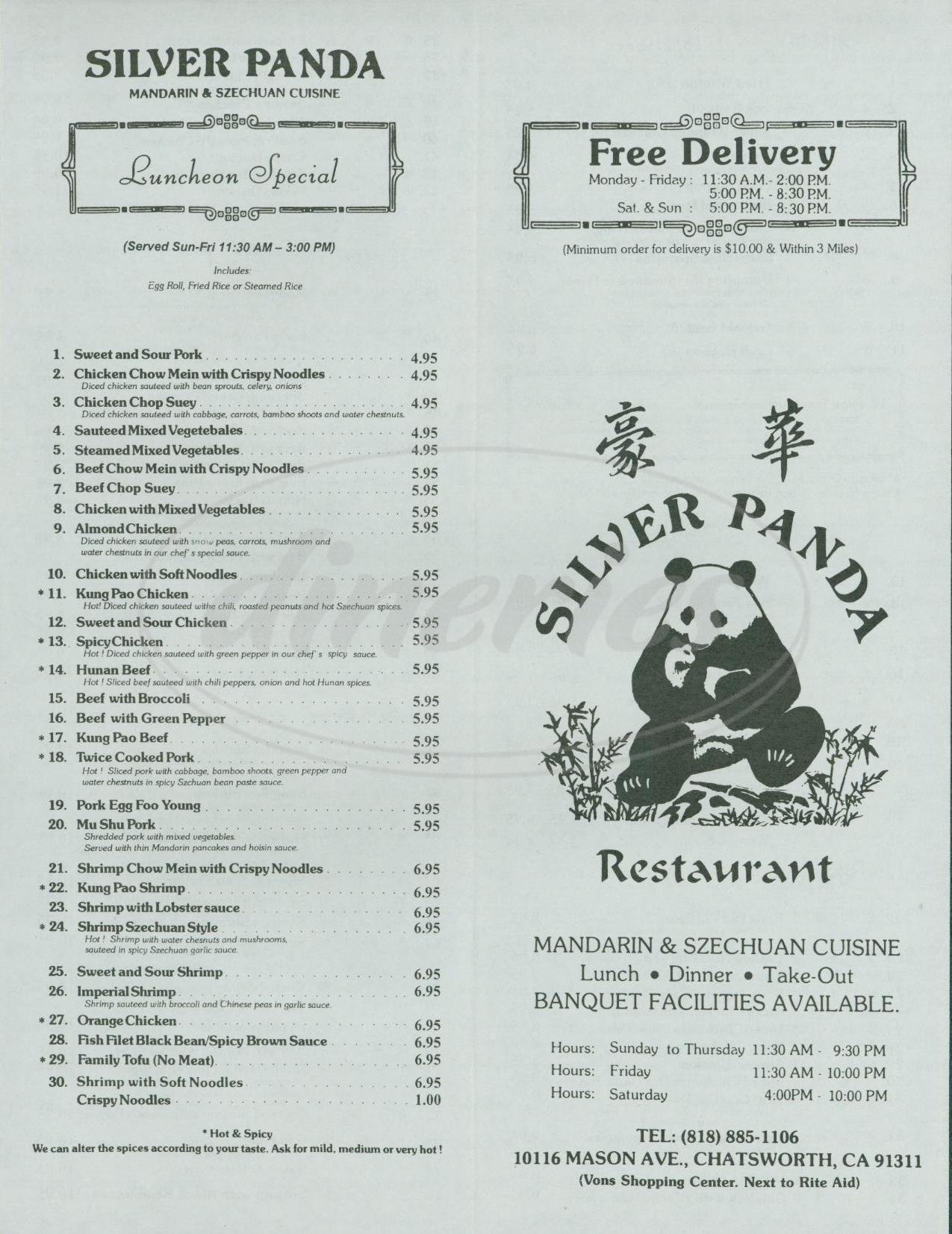 menu for Silver Panda