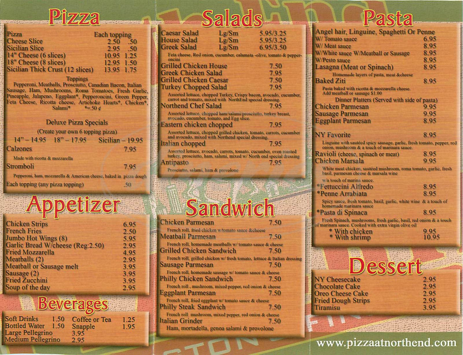 menu for North End Pizzeria