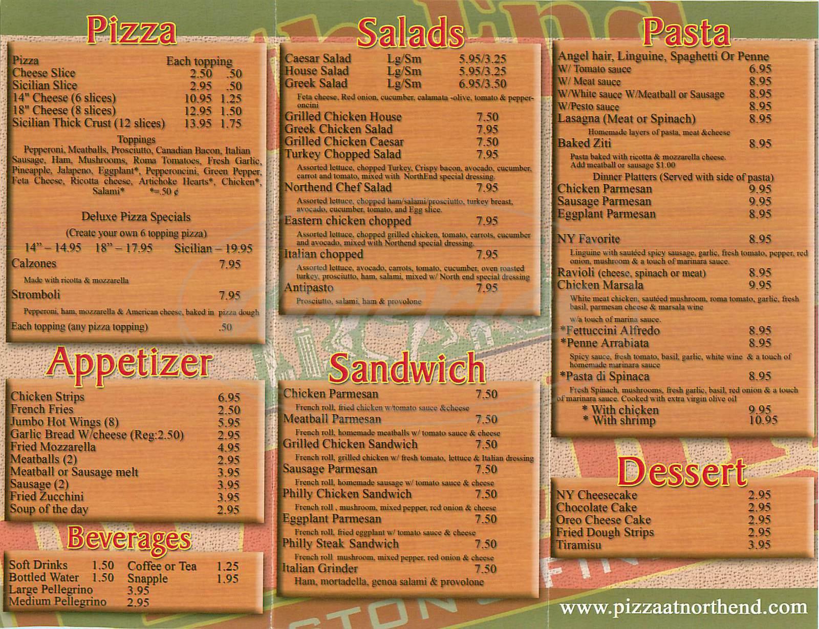 menu for North End Pizzeria