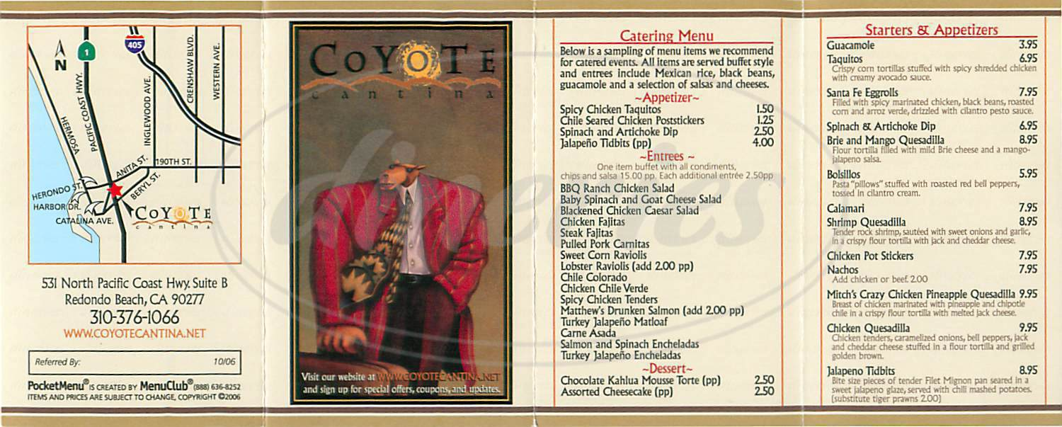 menu for Coyote Cantina