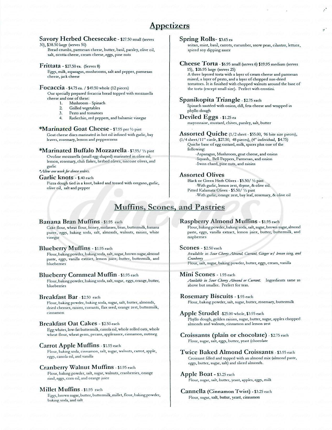 menu for Zinc Café & Market