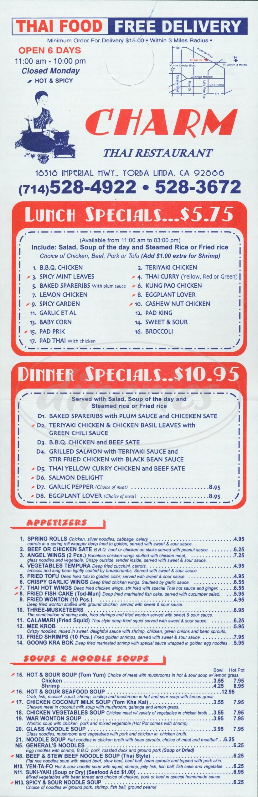 menu for Charm Thai Restaurant