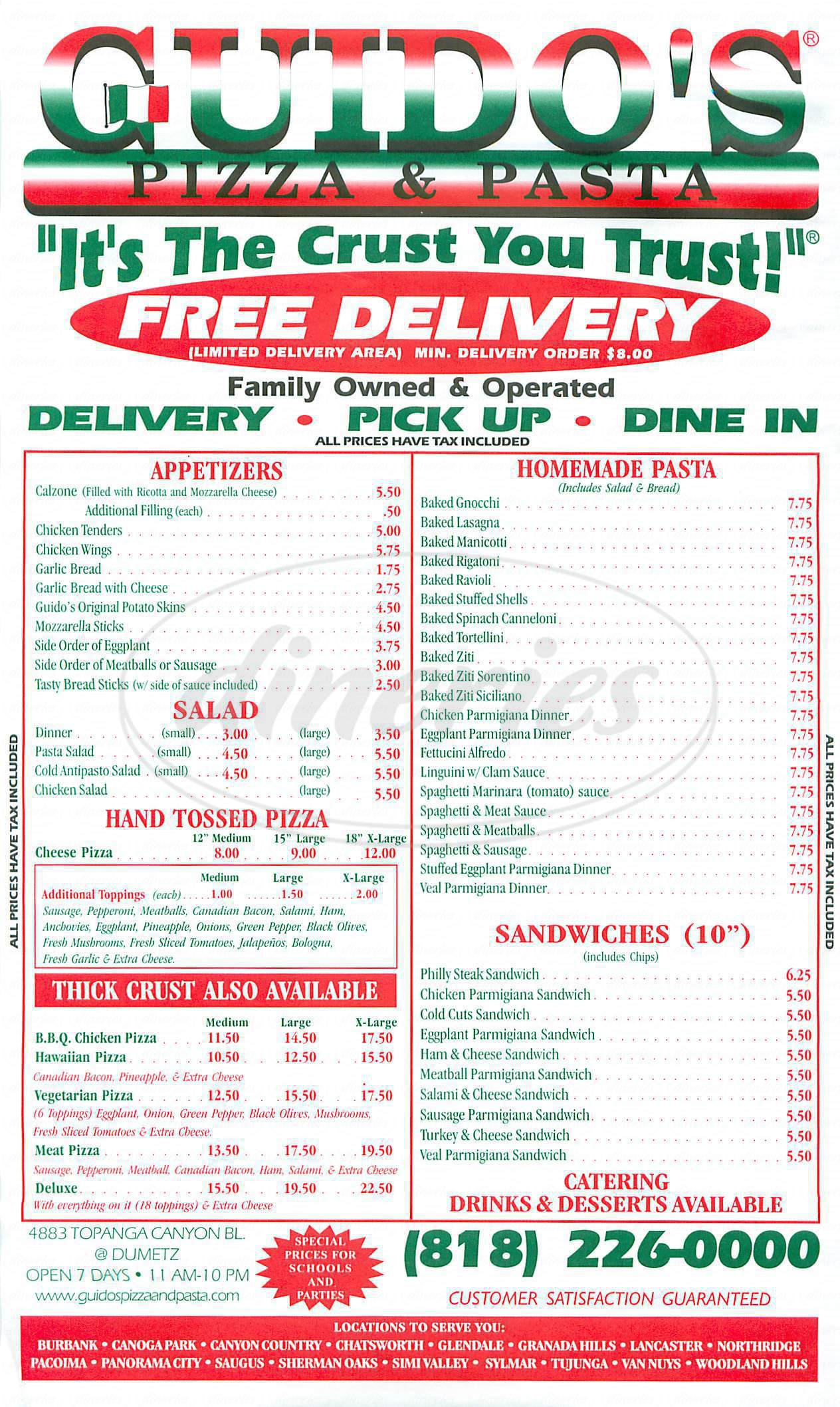 menu for Guidos Pizza & Pasta