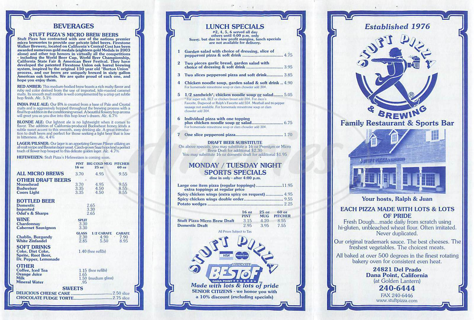 menu for Stuft Pizza & Brewing