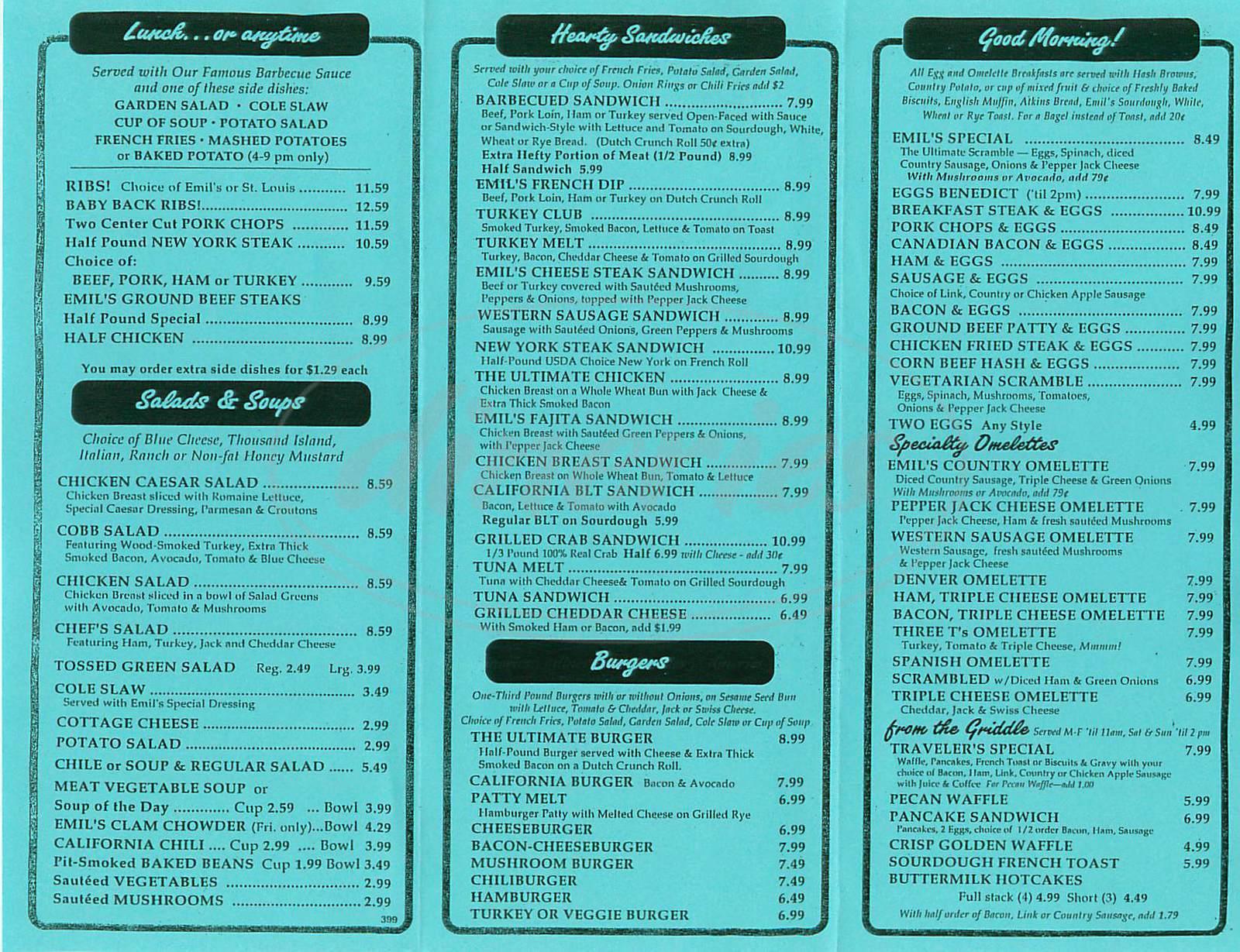 menu for Emil Villa's Hickory Pit
