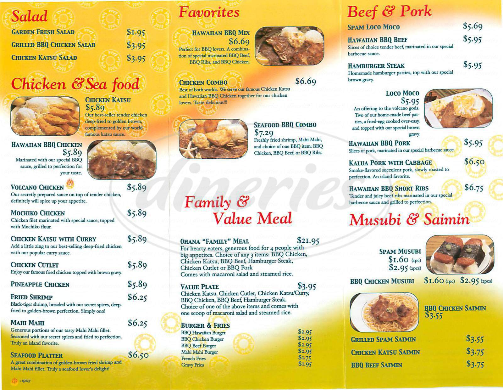 menu for Ohana Hawaiian Barbecue
