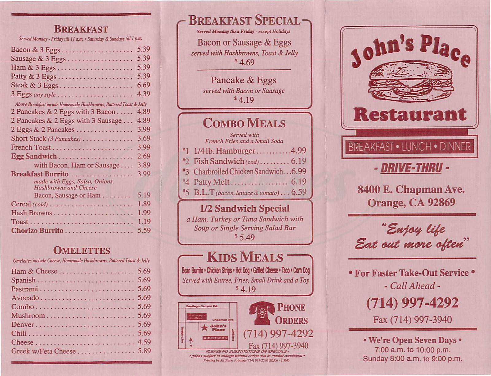menu for Johns Place