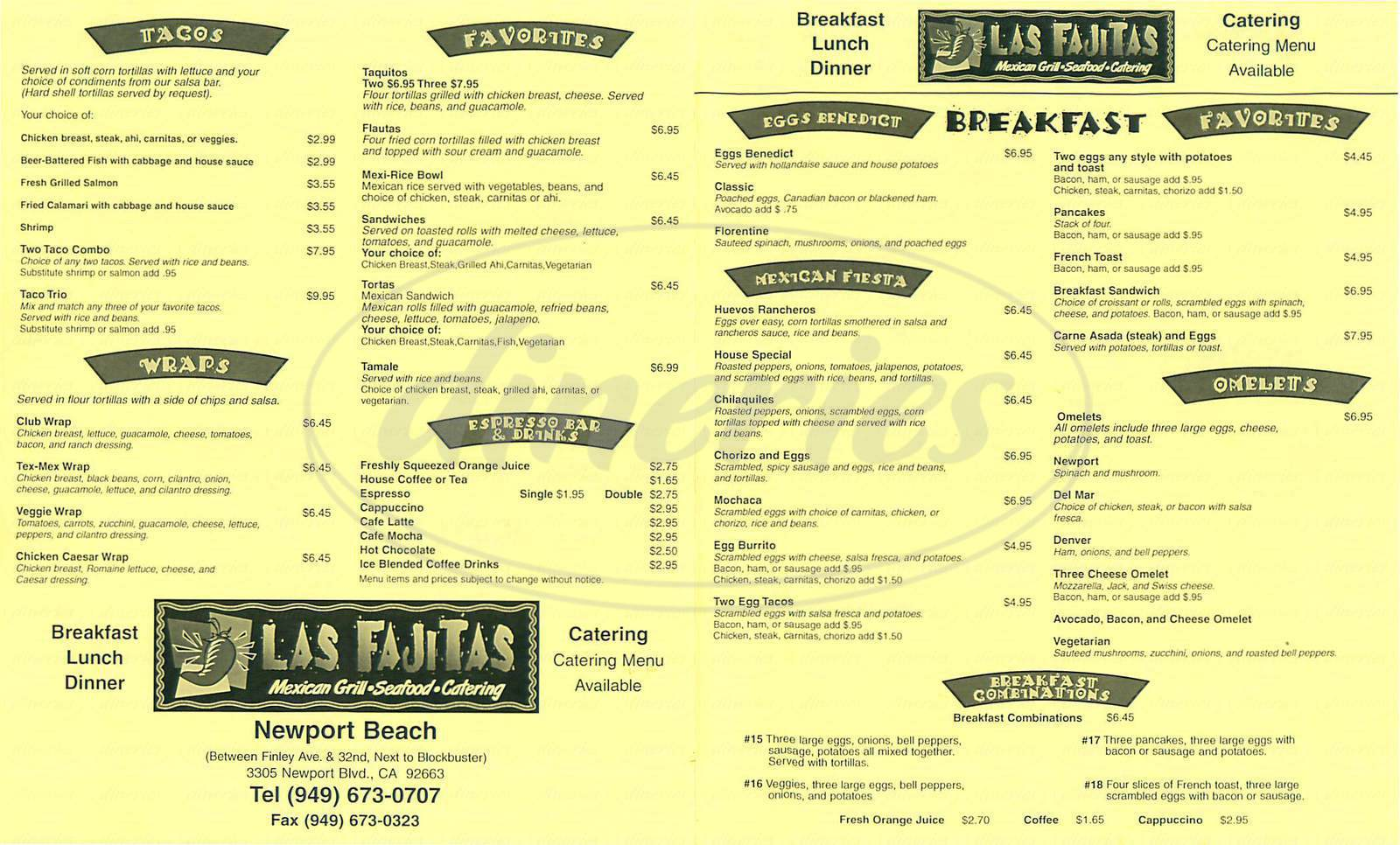 menu for Las Fajitas
