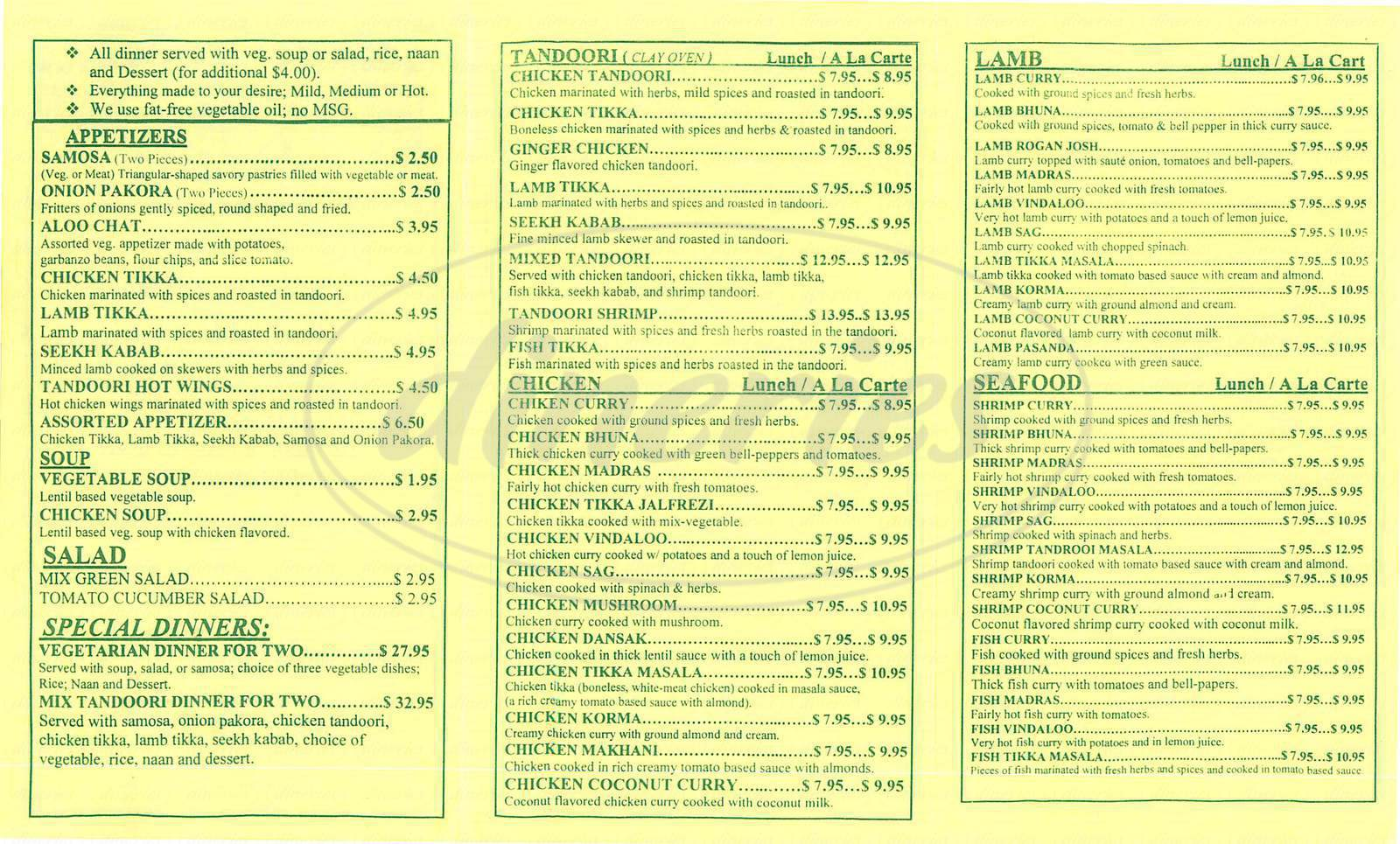 menu for Bollywood Café