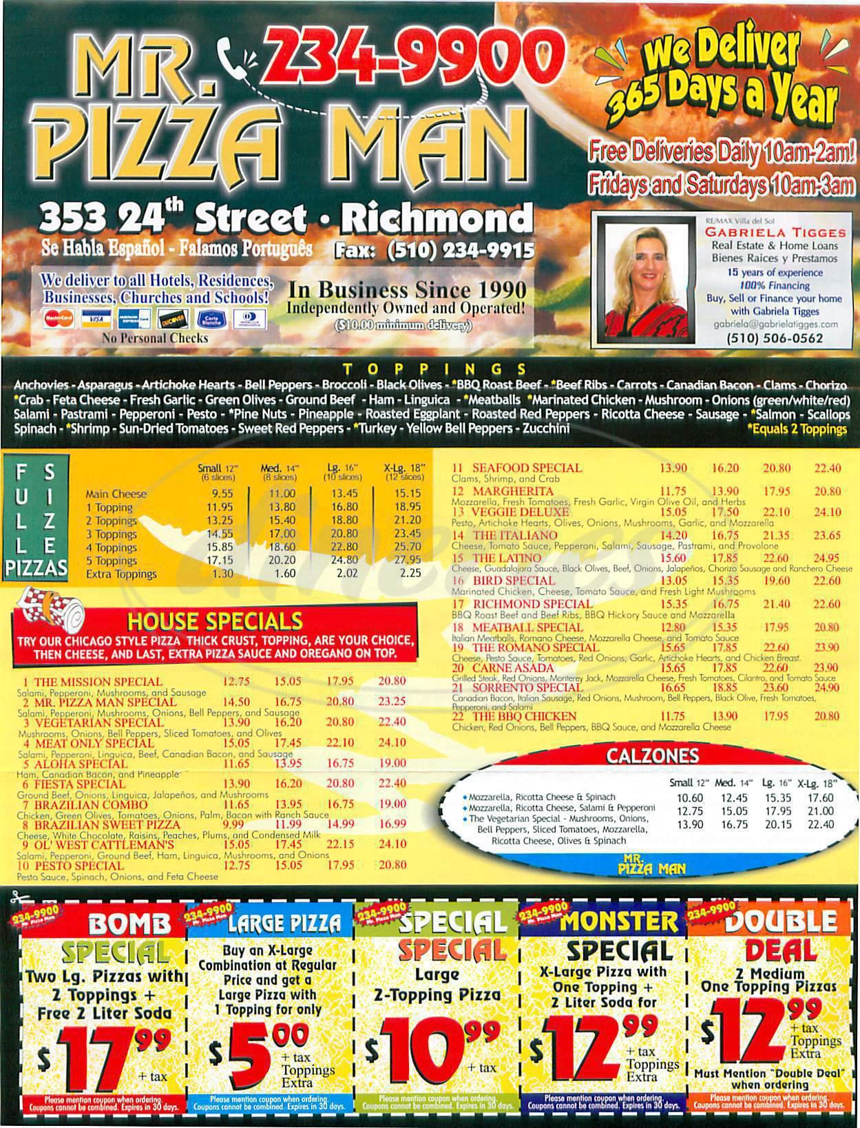 menu for Mr Pizza Man